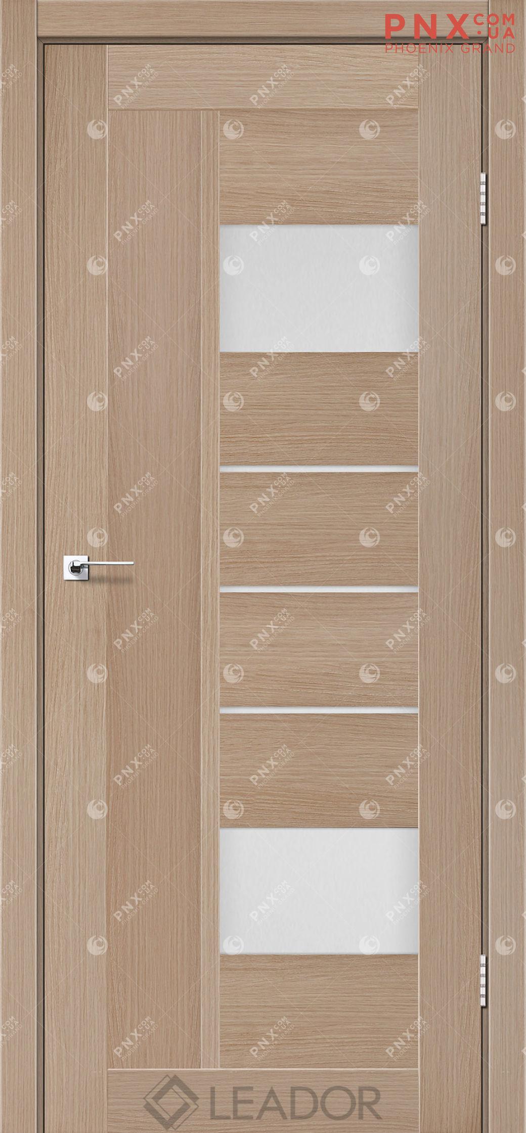 Межкомнатная дверь LEADOR Como, Дуб Мокко, Белое стекло сатин