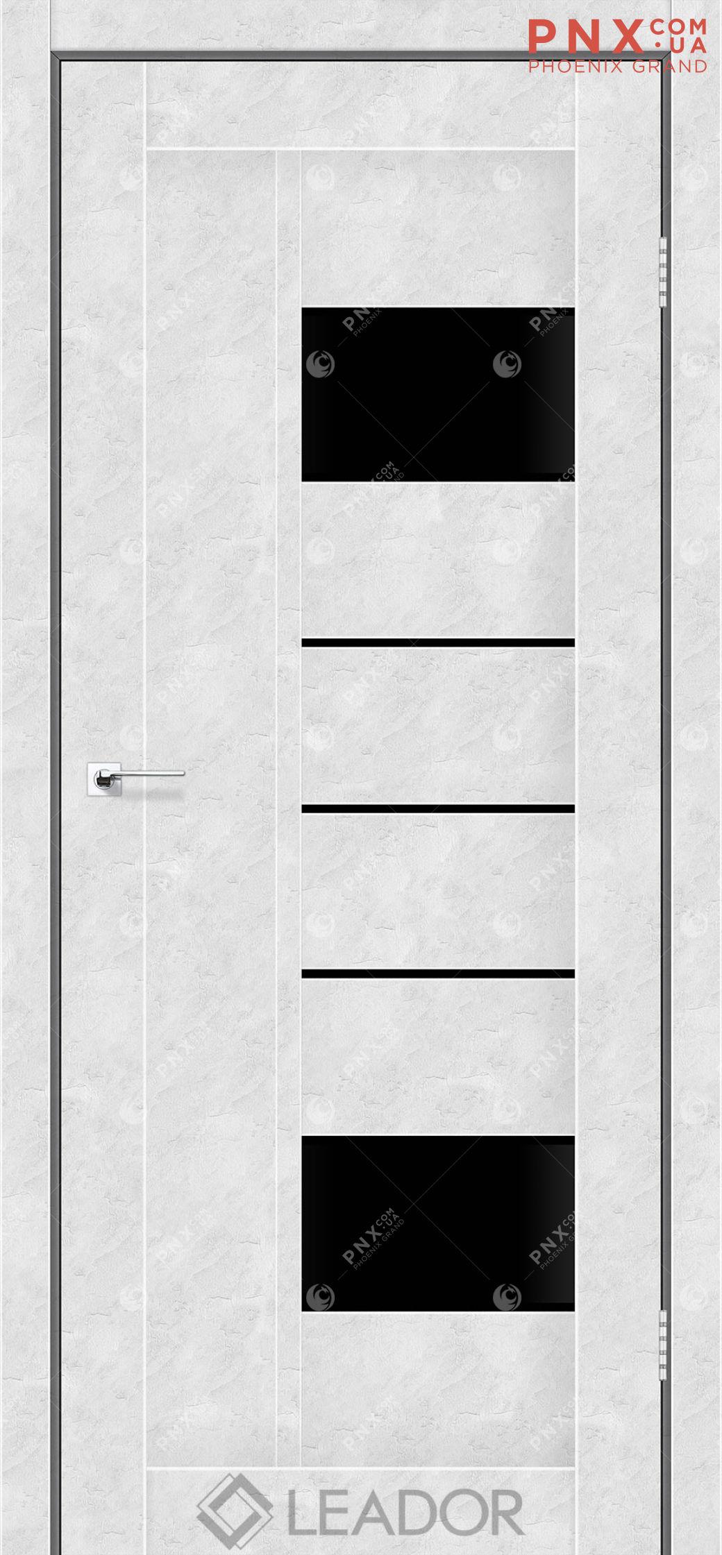 Межкомнатная дверь LEADOR Como, Бетон Белый, Черное стекло
