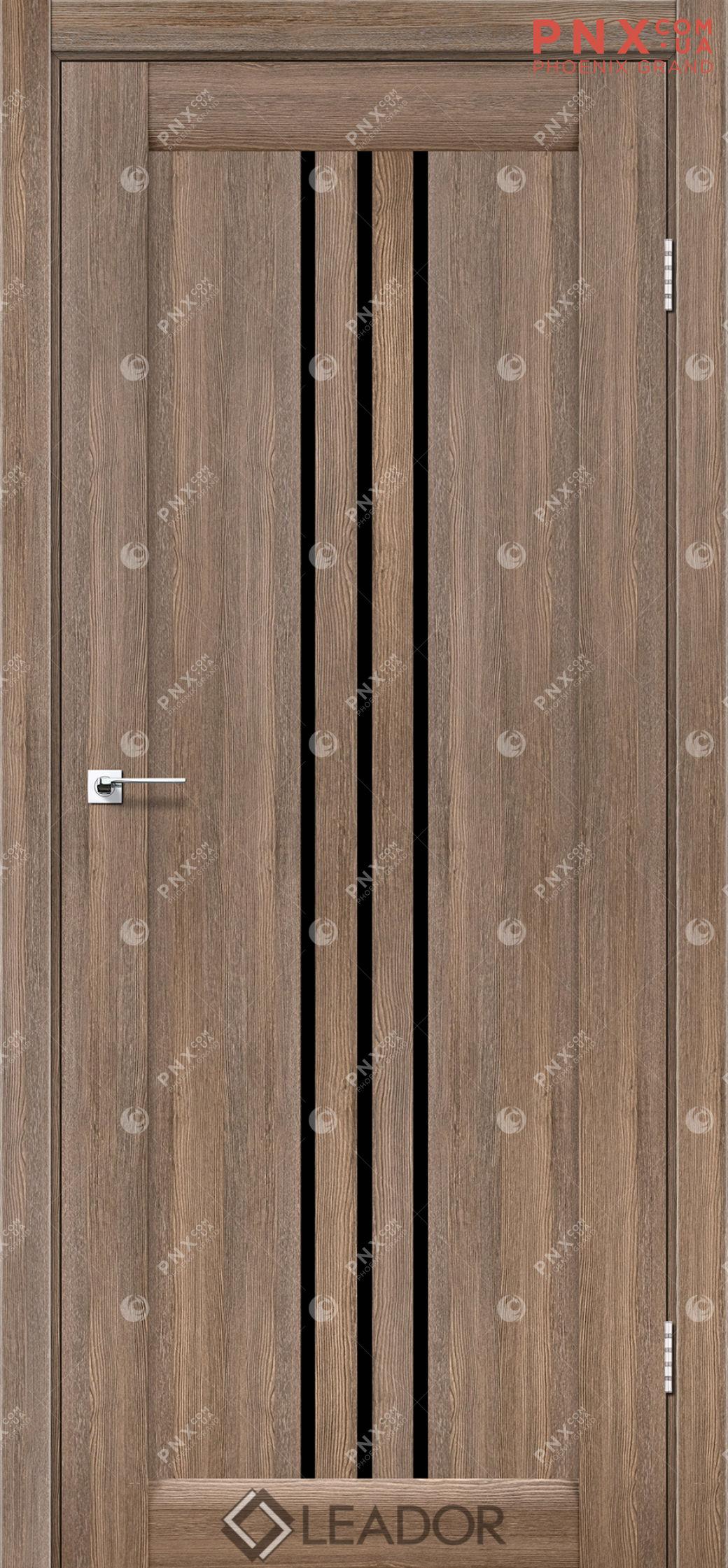 Межкомнатная дверь LEADOR Verona, Серое дерево, Черное стекло