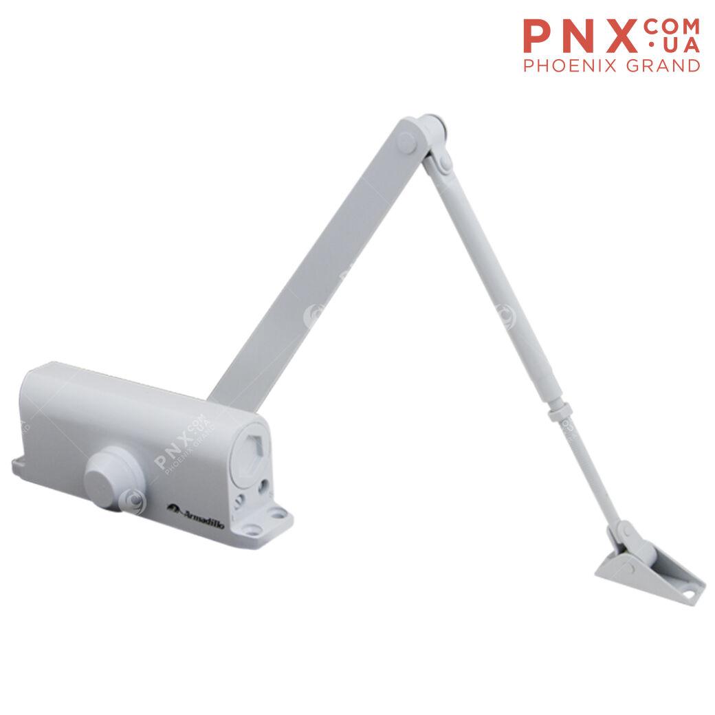 Доводчик дверной морозостойкий LY4 85 кг (белый) ARMADILLO (с рычажной тягой)