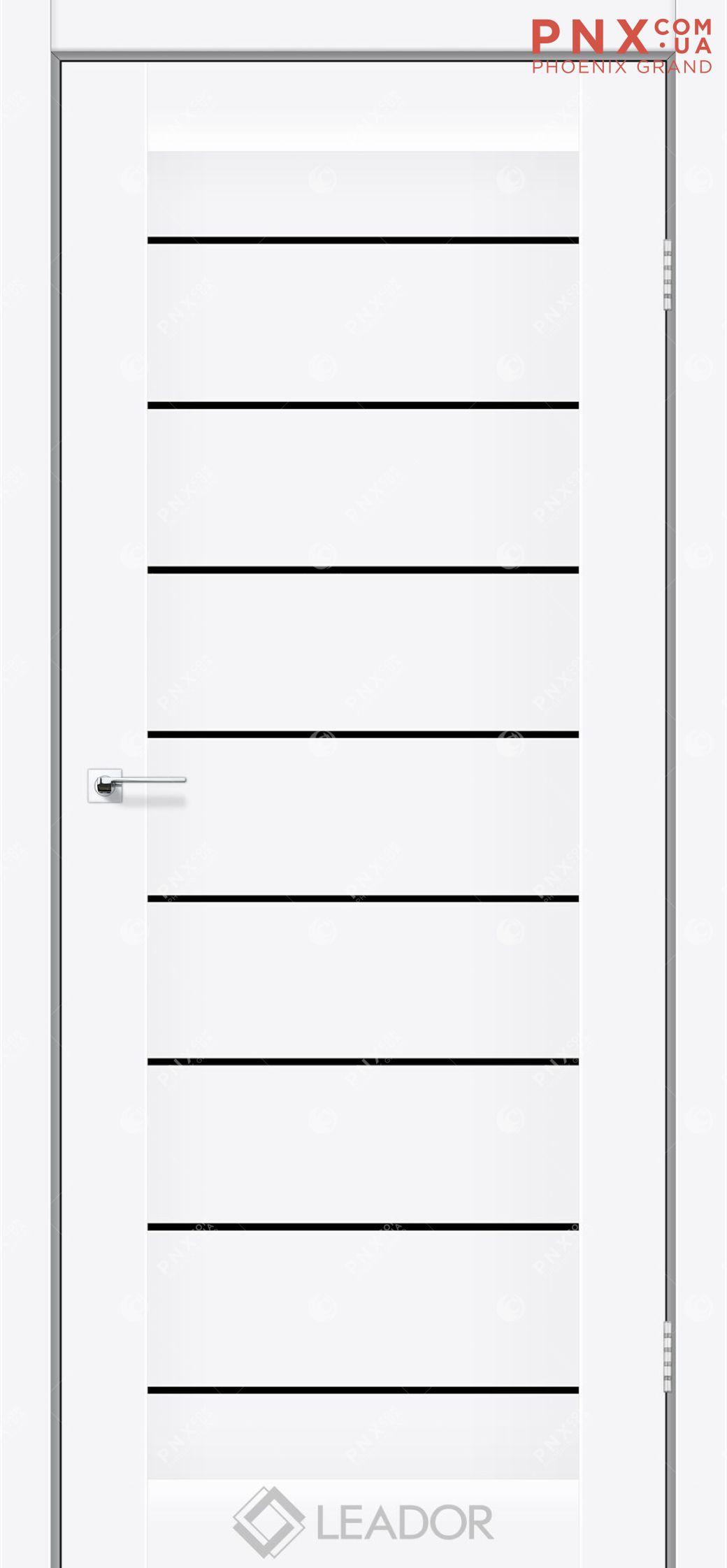 Межкомнатная дверь LEADOR Neapol, Matt White BLK, Белое стекло сатин