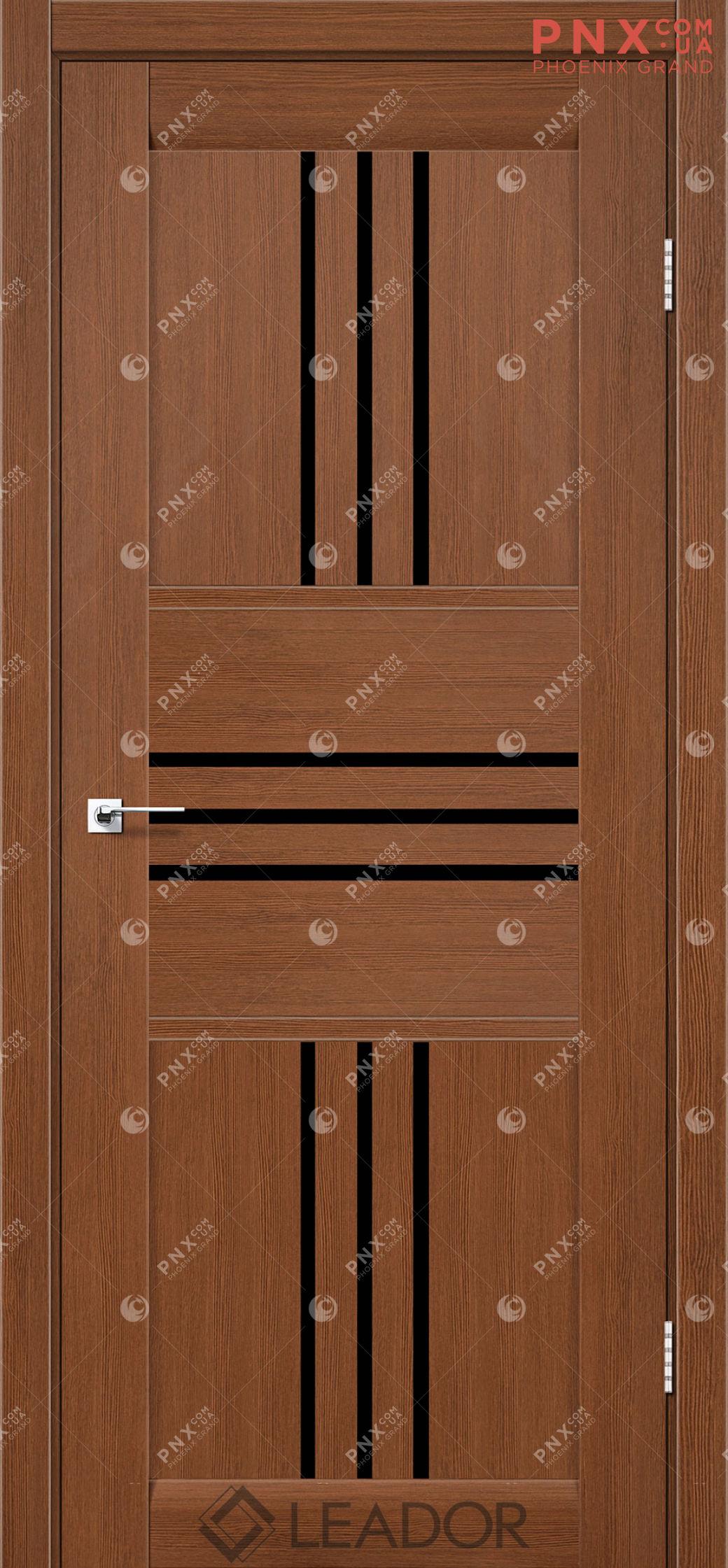 Межкомнатная дверь LEADOR Rona, Браун, Черное стекло
