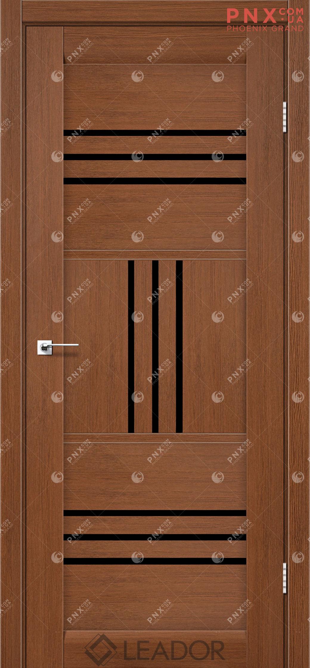 Межкомнатная дверь LEADOR Gela, Браун, Черное стекло