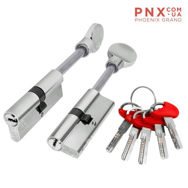Цилиндровый механизм со штоком D-PRO507/85 mm (50+10+25) CP хром 5 кл. FUARO (с индивидуальным ключом)
