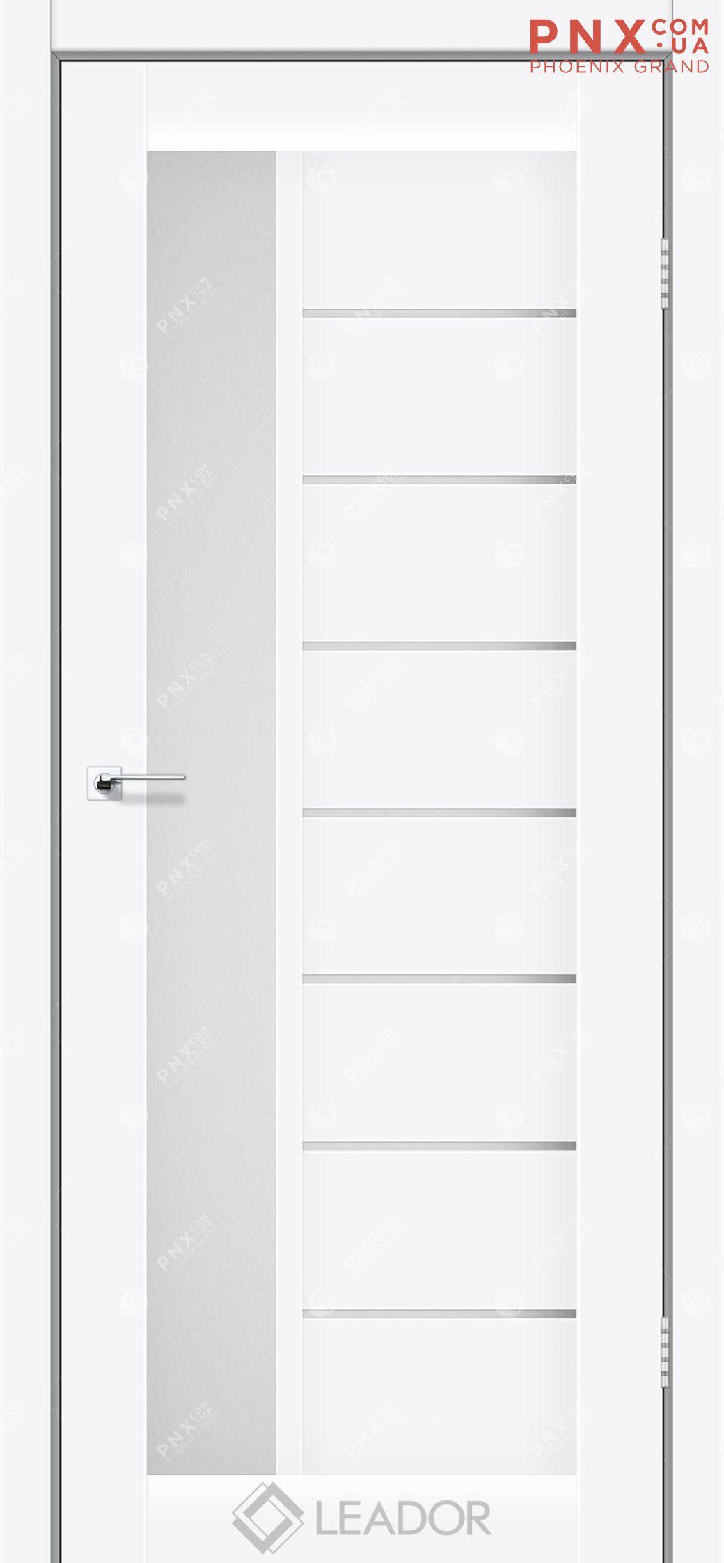 Межкомнатная дверь LEADOR Lorenza, Белый матовый, Белое стекло сатин