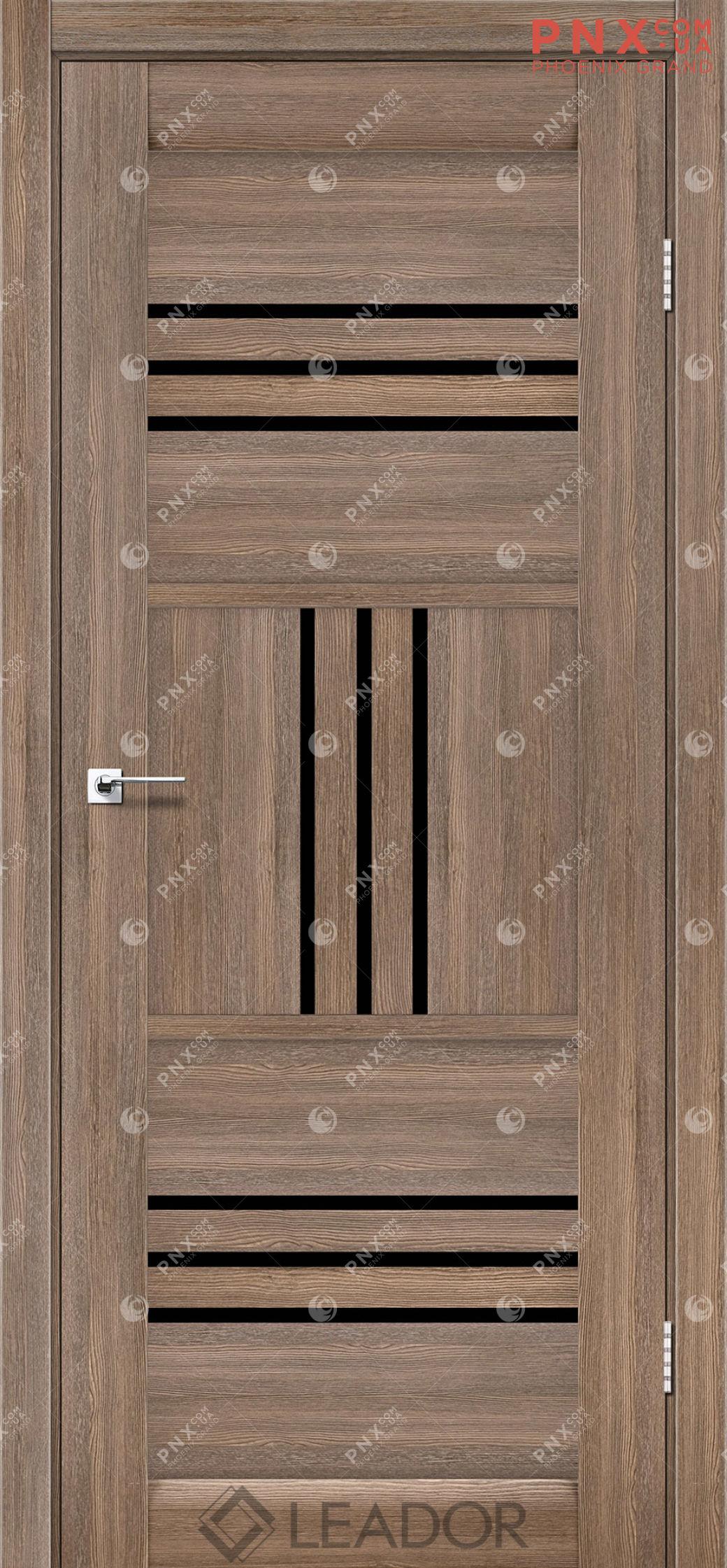 Межкомнатная дверь LEADOR Gela, Серое дерево, Черное стекло