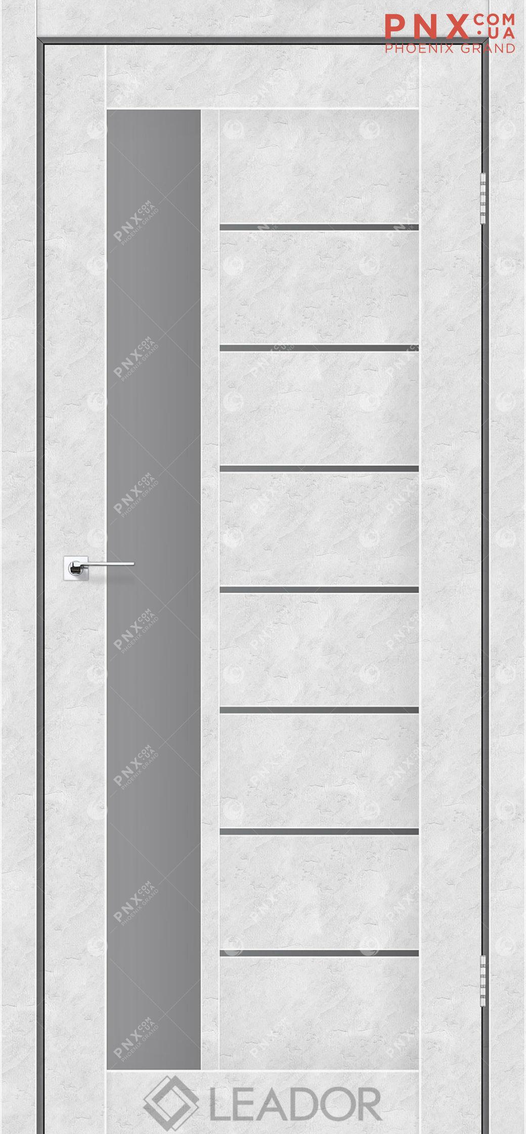 Межкомнатная дверь LEADOR Lorenza, Бетон Белый, Стекло серый графит