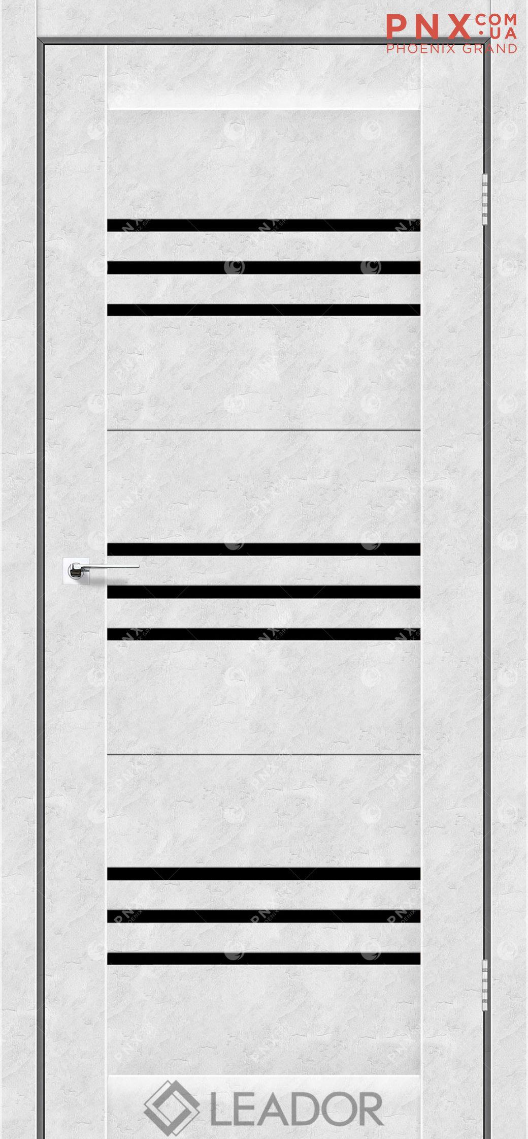 Межкомнатная дверь LEADOR Sovana, Бетон Белый, Черное стекло