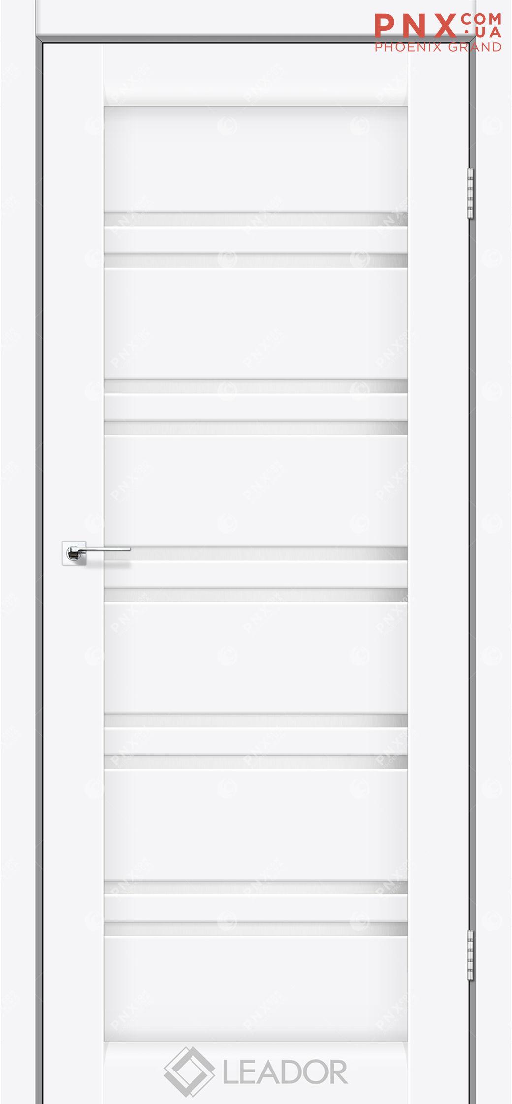 Межкомнатная дверь LEADOR Sicilia, Белый матовый, Белое стекло сатин