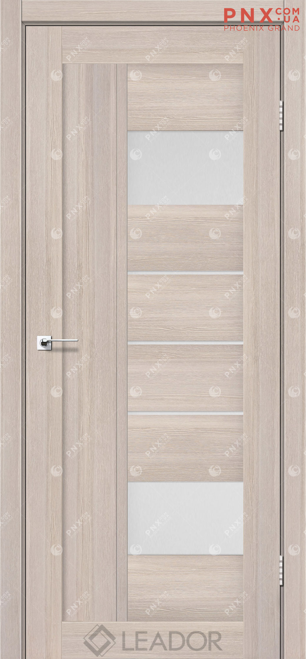 Межкомнатная дверь LEADOR Como, Монблан, Белое стекло сатин