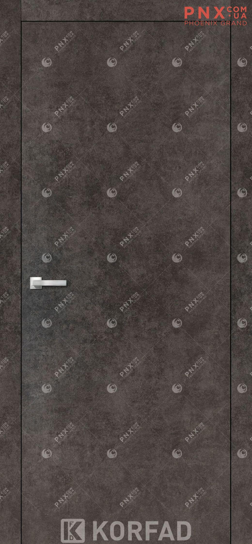Міжкімнатні двері  Korfad LP-01 , лофт бетон, глухі+алюмінієвий торець
