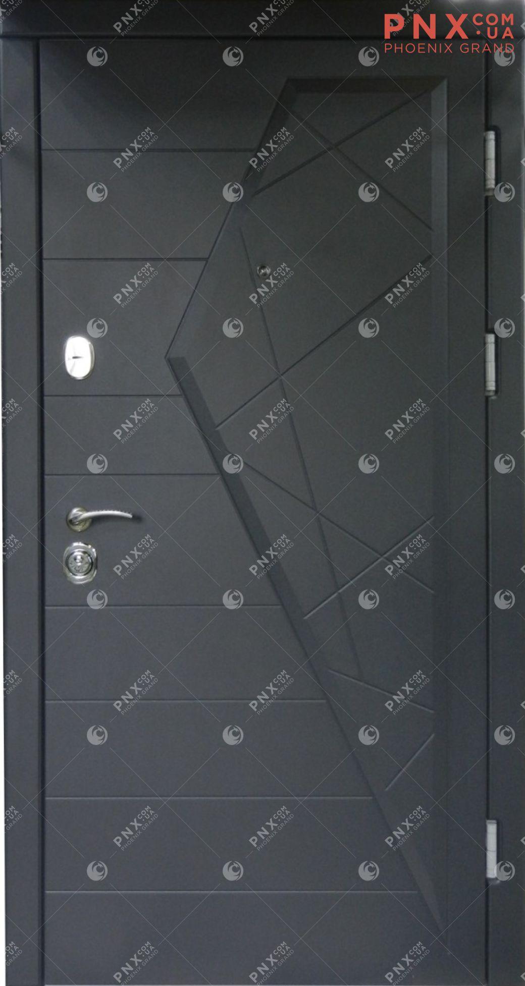 Входная дверь Форт Нокс, Стандарт, Айсберг, мдф/мдф графит/белый мат