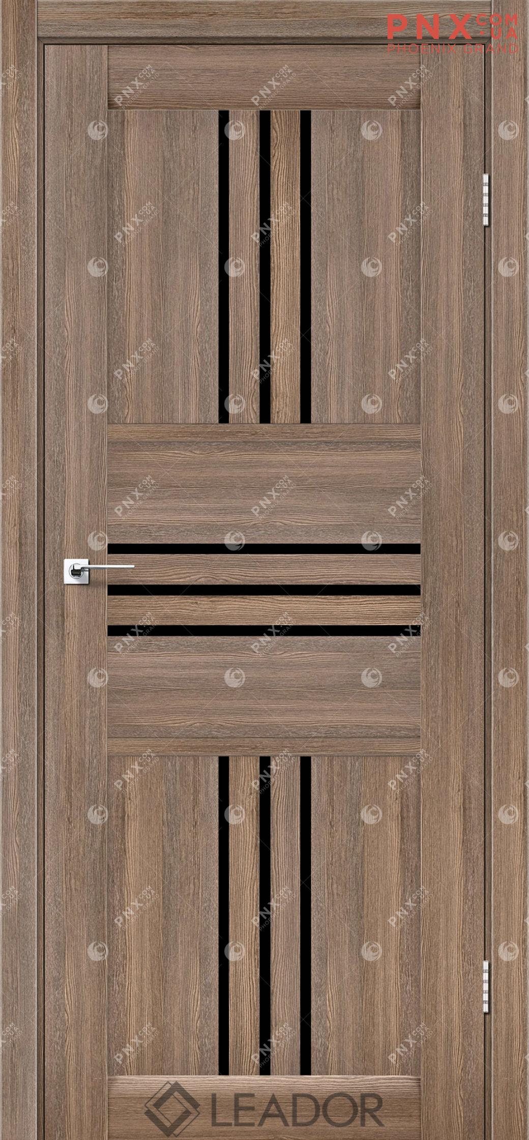 Межкомнатная дверь LEADOR Rona, Серое дерево, Черное стекло