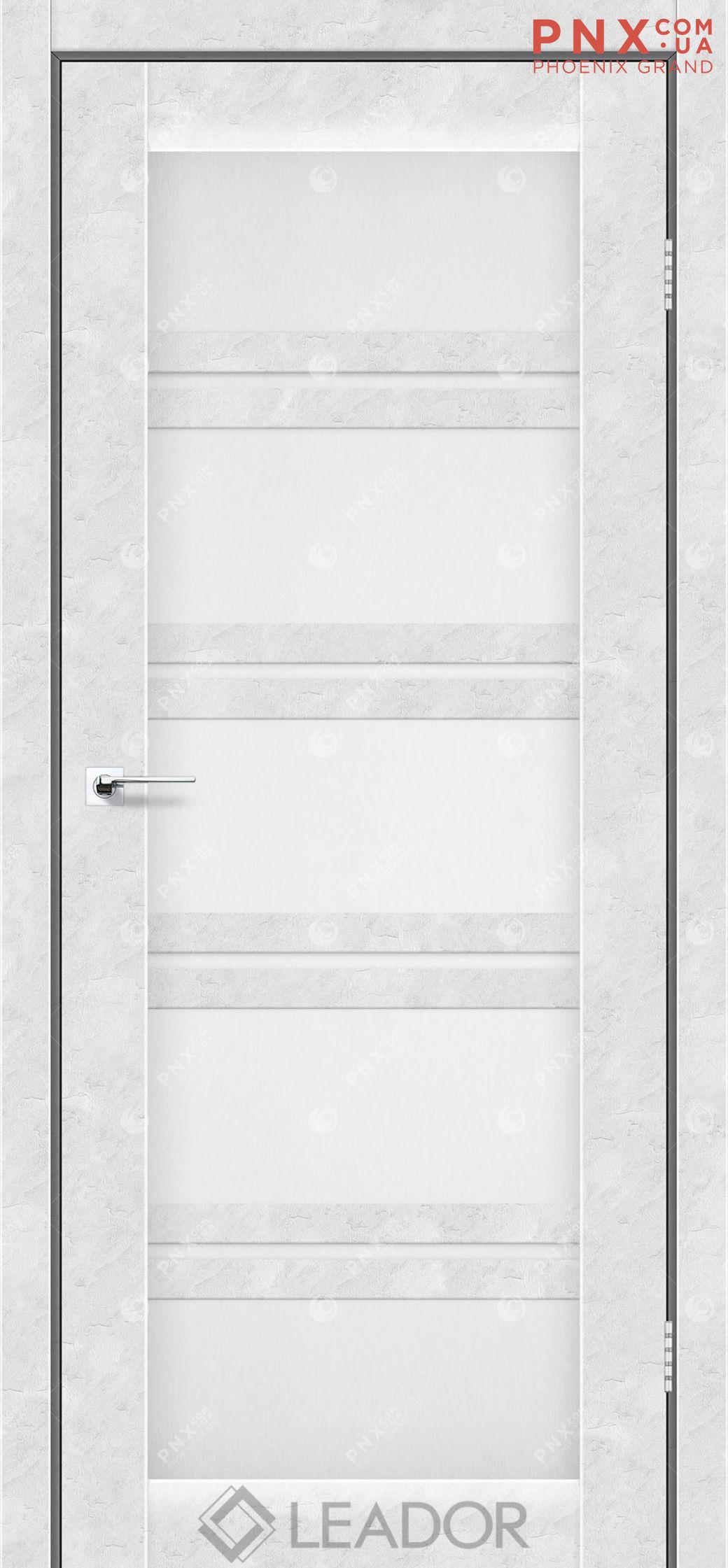 Межкомнатная дверь LEADOR Lodi, Бетон Белый, Белое стекло сатин