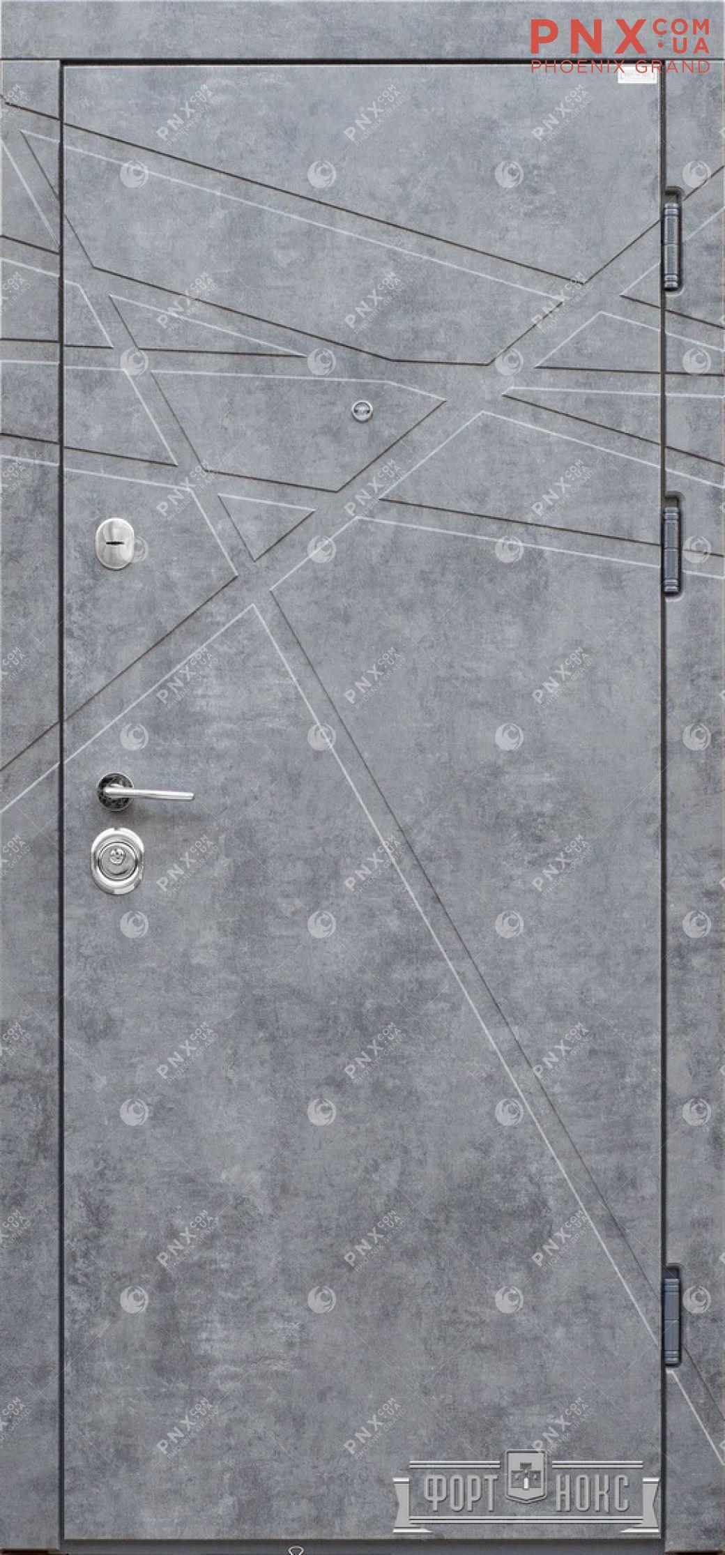 Входная дверь Форт Нокс, Стандарт, мдф/мдф мрамор темный/бетон снежный DG-41