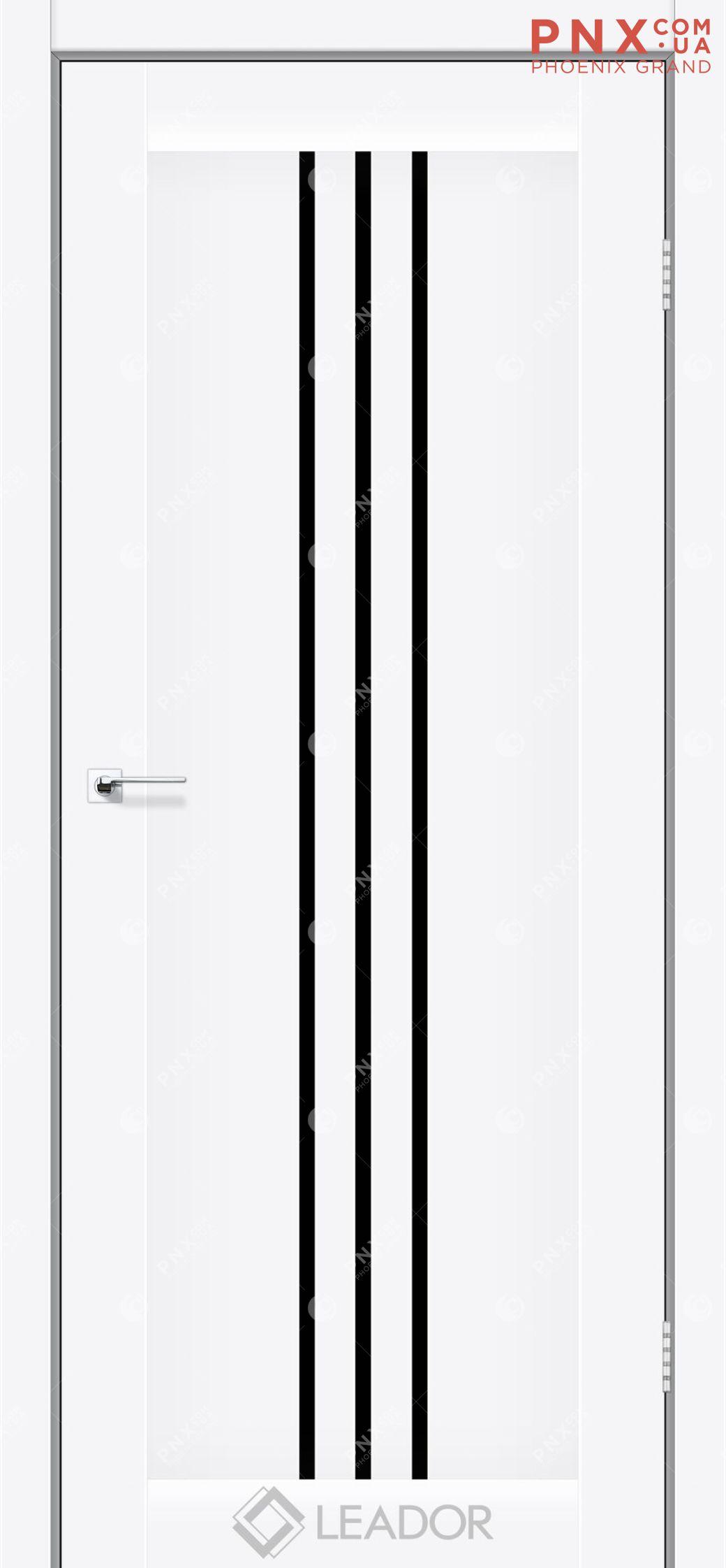 Межкомнатная дверь LEADOR Verona, Белый матовый, Черное стекло