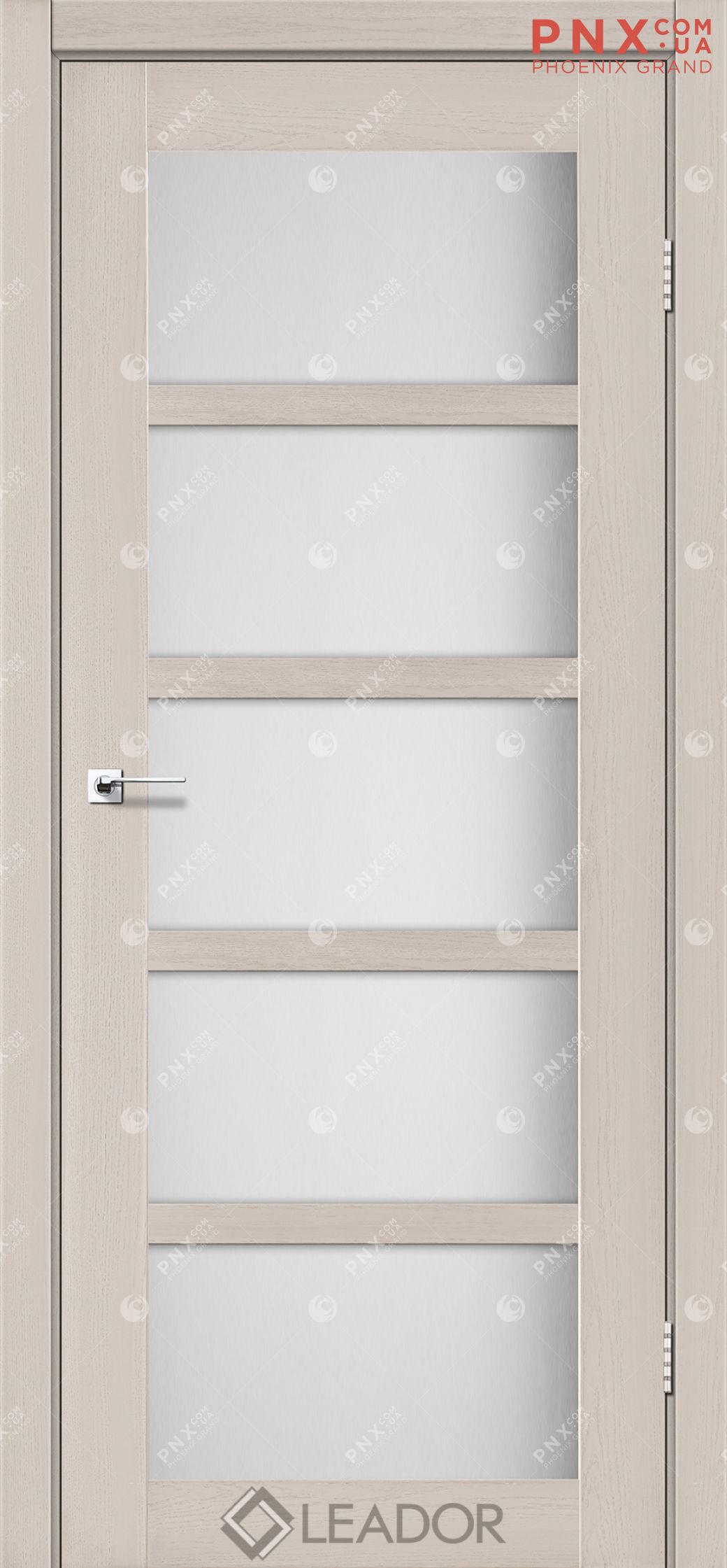 Межкомнатная дверь LEADOR Veneto, Дуб Латте, Белое стекло сатин