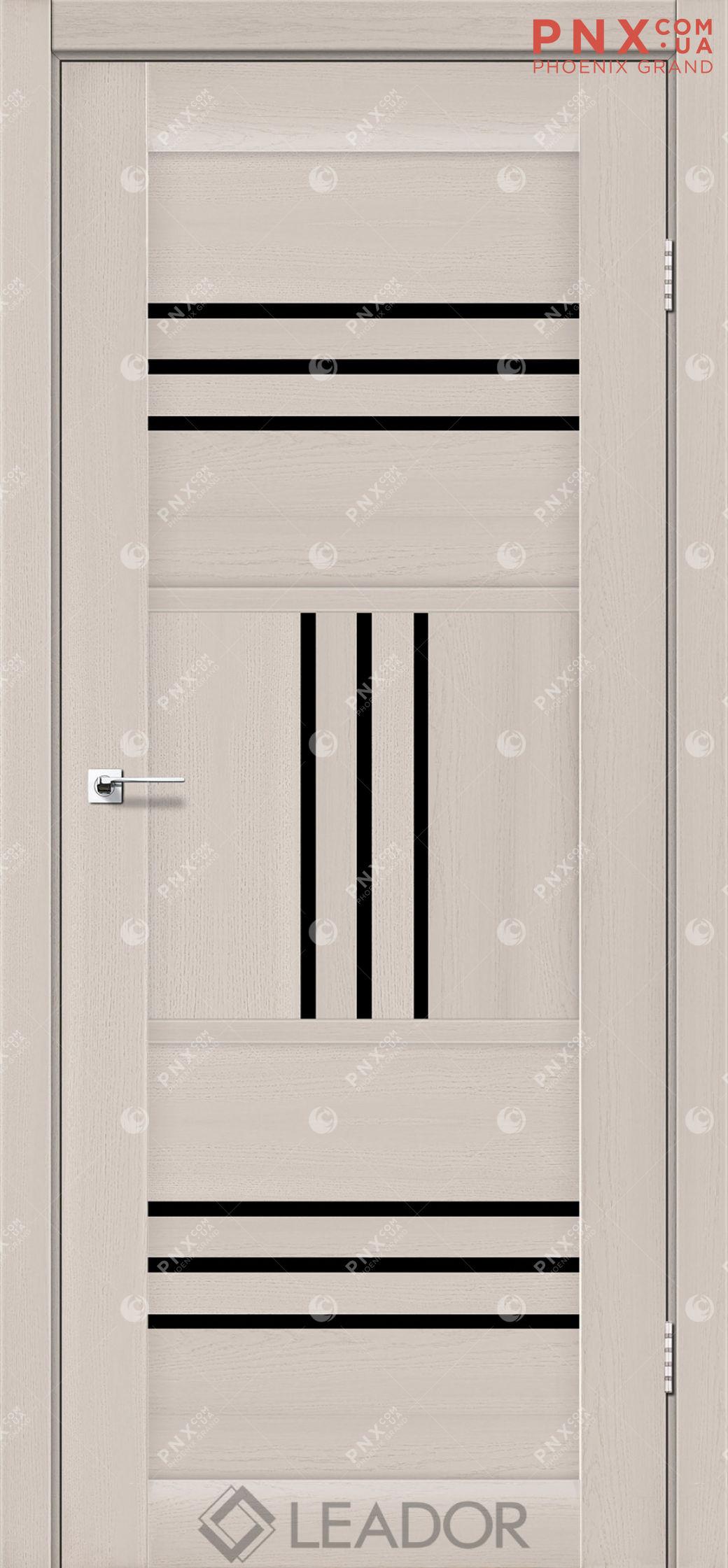 Межкомнатная дверь LEADOR Gela, Дуб Латте, Черное стекло