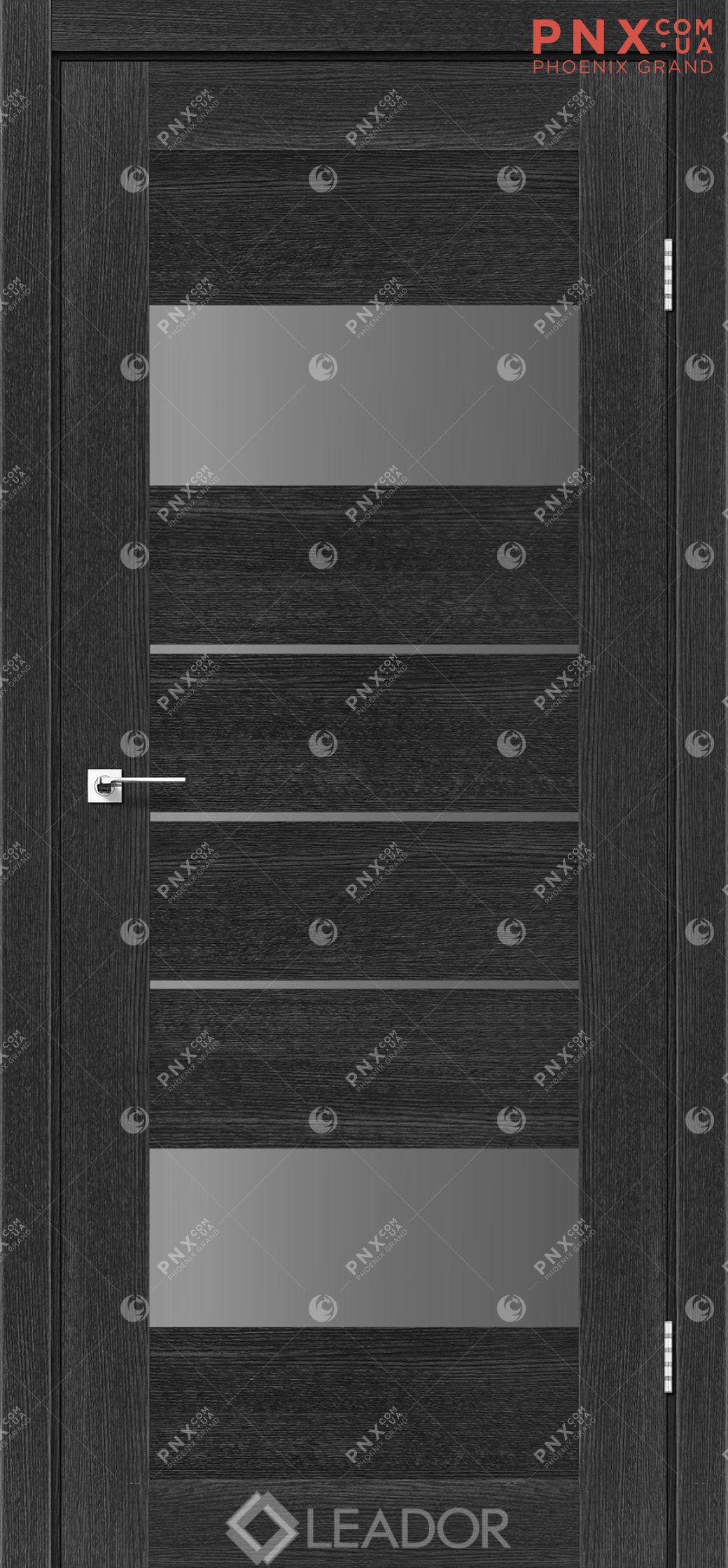 Межкомнатная дверь LEADOR Arona, Дуб Саксонский, Стекло серый графит
