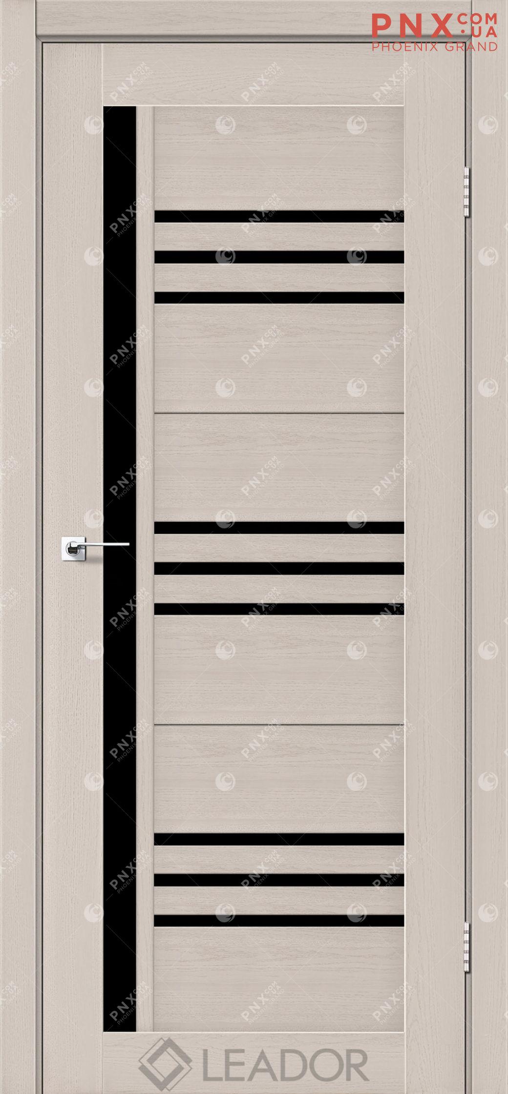 Межкомнатная дверь LEADOR Compania, Дуб Латте, Черное стекло