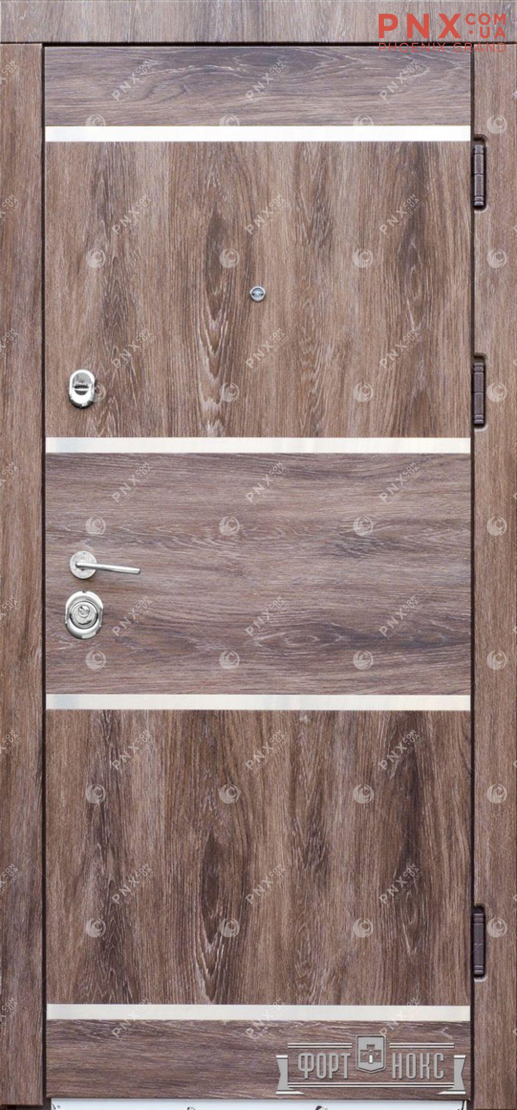 Входная дверь Форт Нокс, Стандарт, мдф/мдф Дуб шалекорица+нержавеющий молдинг