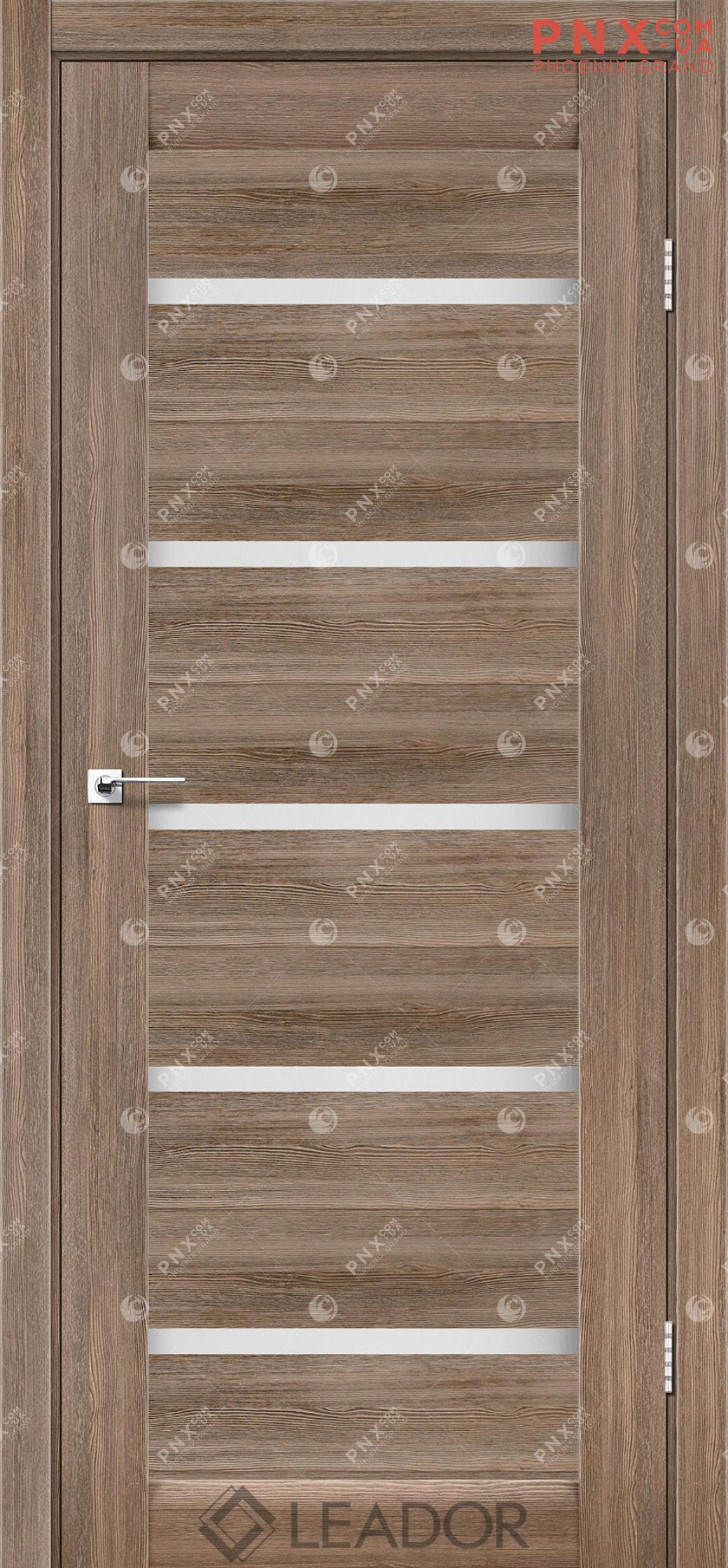 Межкомнатная дверь LEADOR Siena, Серое дерево, Белое стекло сатин