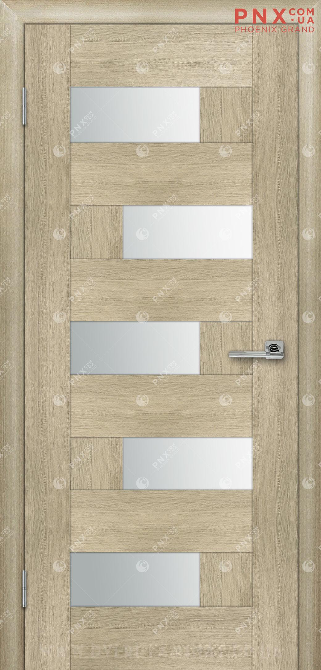 Межкомнатная дверь, , ПВХ, 5-й Элемент, Домино, дуб беленный, стекло сатин