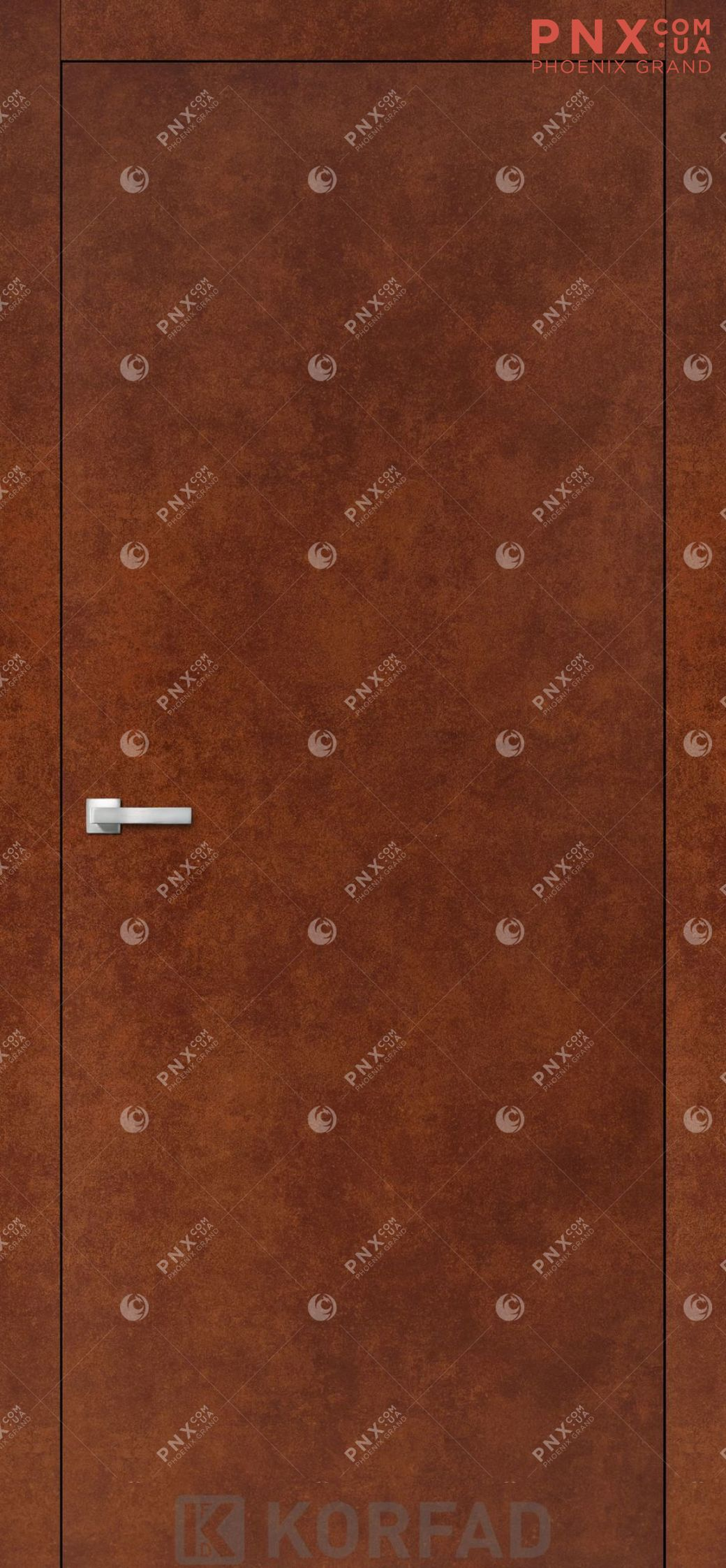 Міжкімнатні двері  Korfad LP-01 , сталь кортен, глухі+алюмінієвий торець