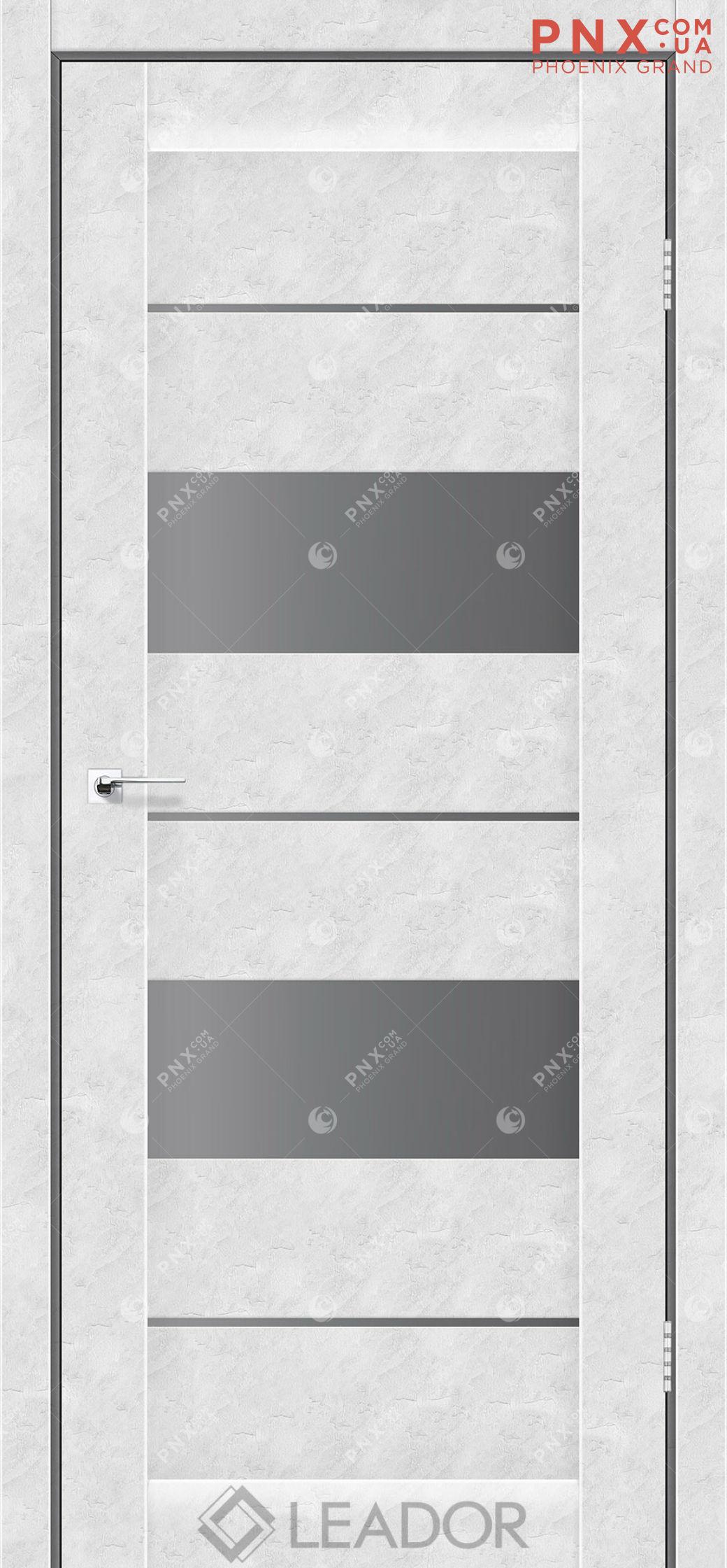 Межкомнатная дверь LEADOR Canneli, Бетон Белый, Стекло серый графит