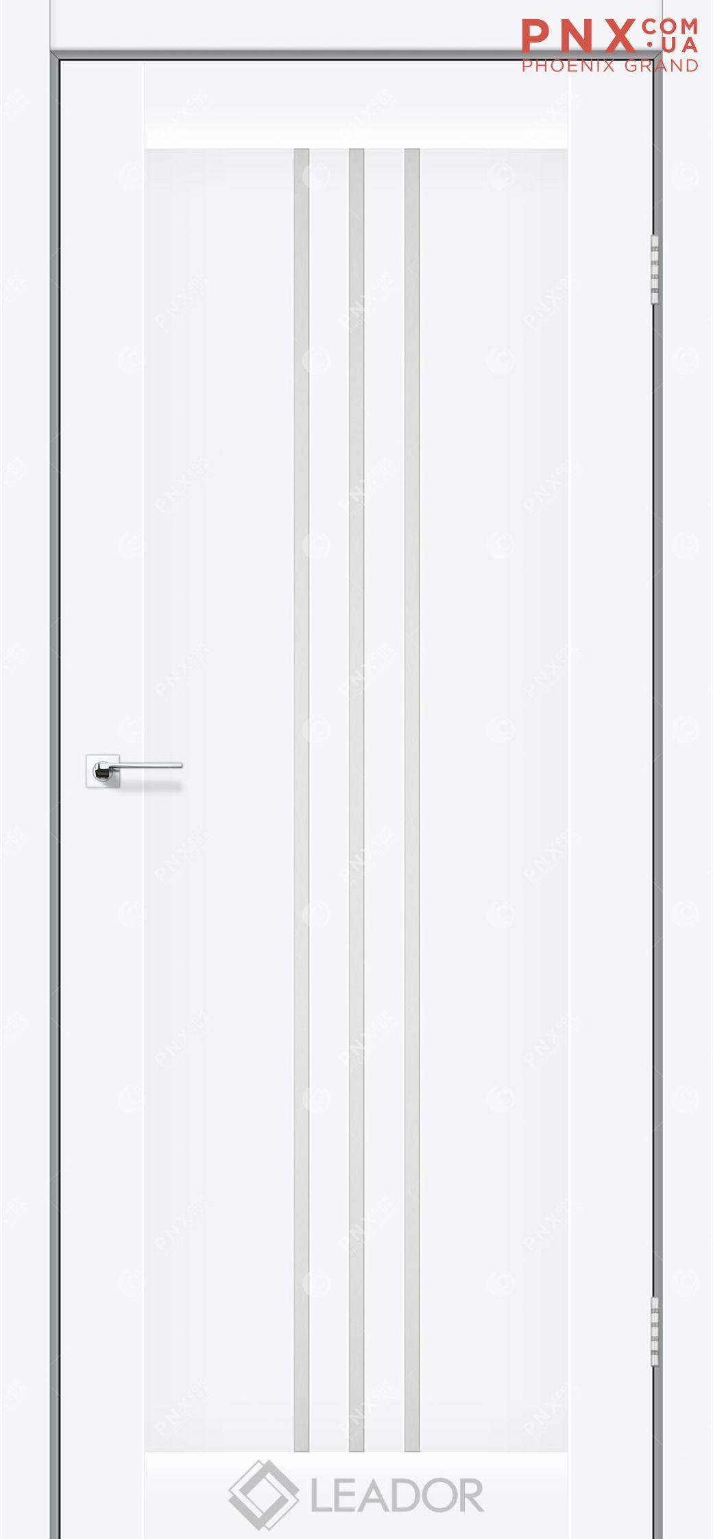 Межкомнатная дверь LEADOR Verona, Белый матовый, Белое стекло сатин