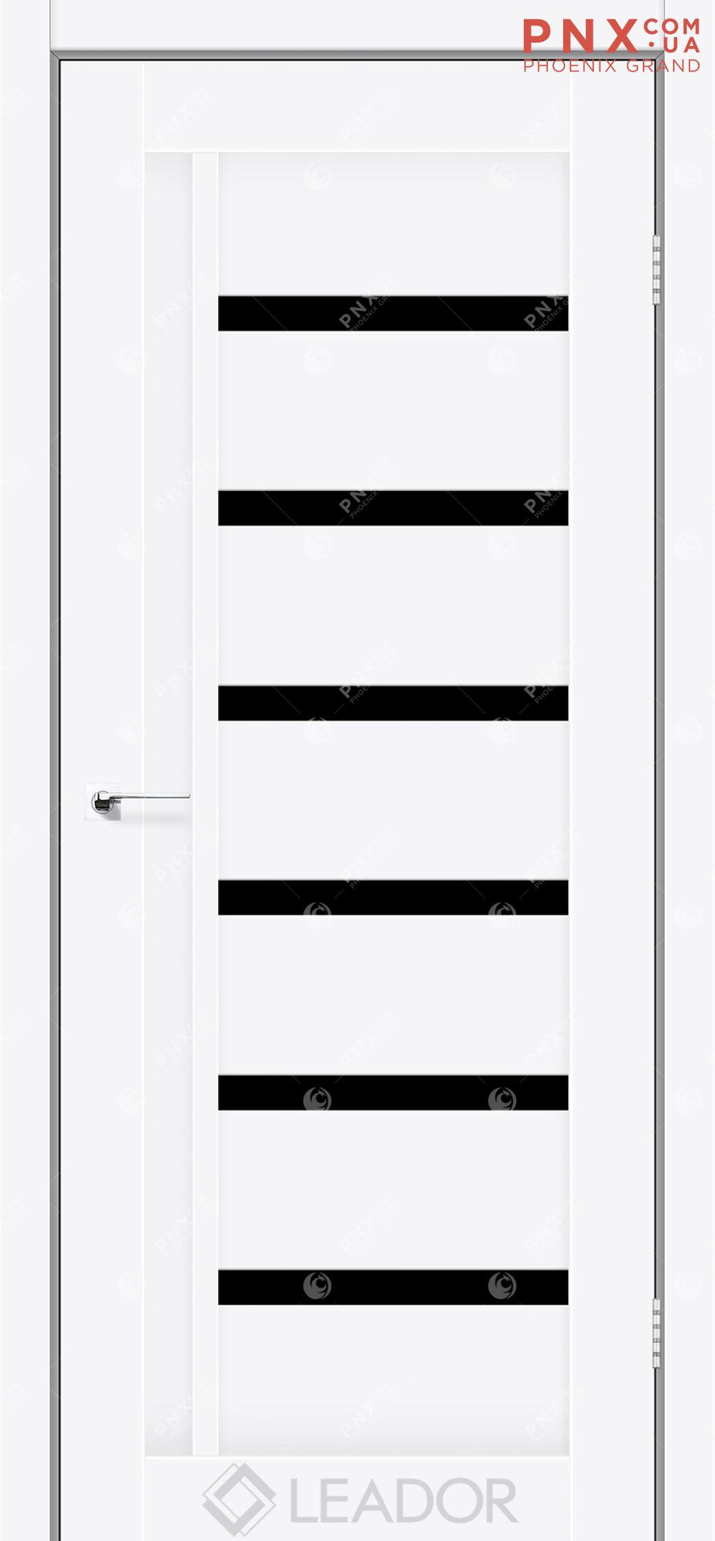 Межкомнатная дверь LEADOR Amelia, Белый матовый, Черное стекло