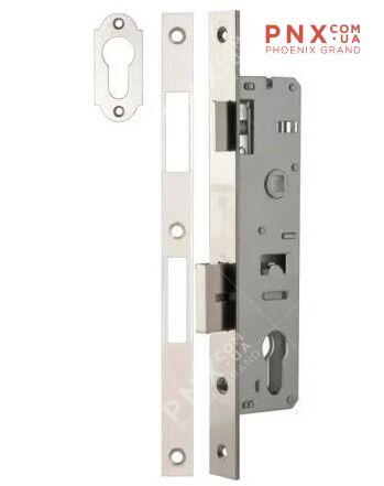 Корпус узкопрофильного замка с защелкой 153P-35/85 CP (хром) FUARO (для профильных дверей)