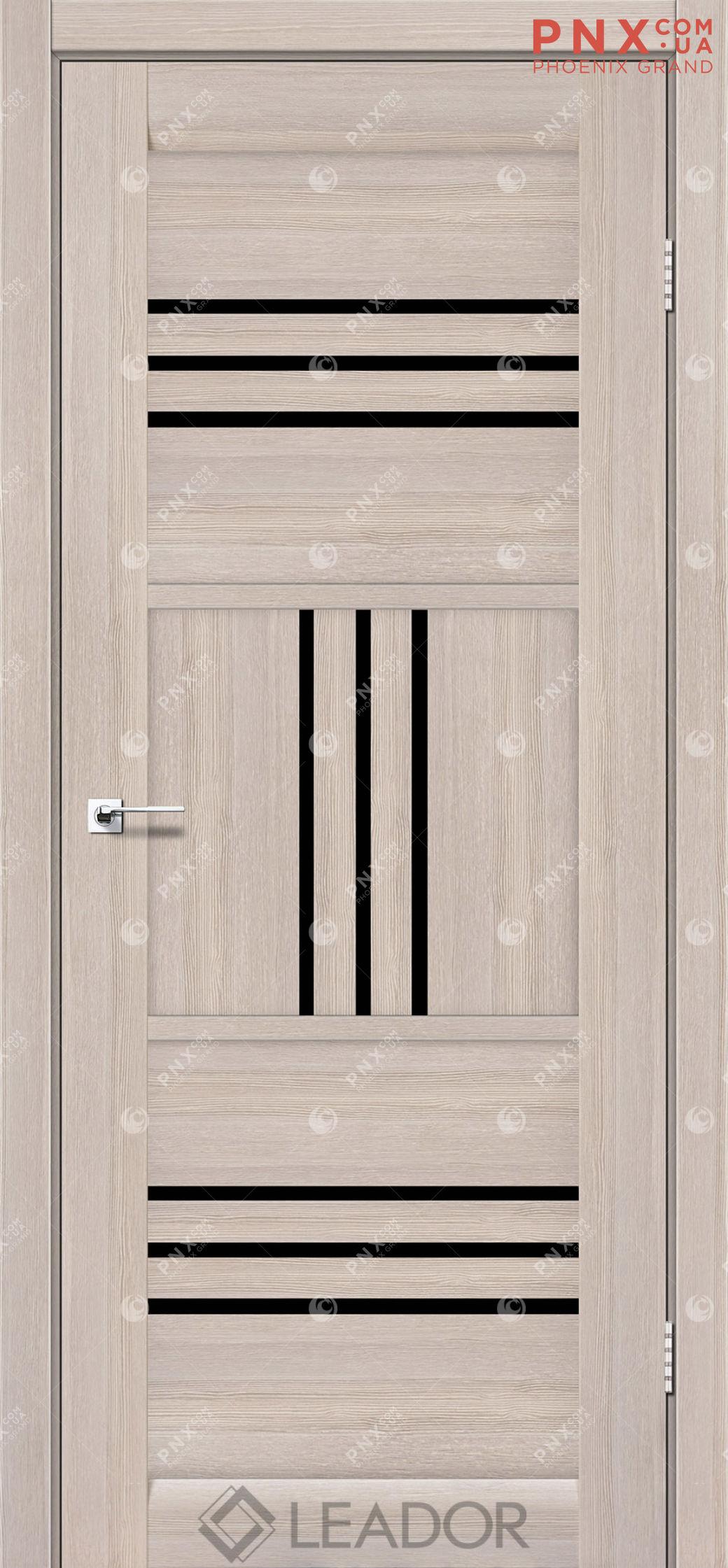 Межкомнатная дверь LEADOR Gela, Монблан, Черное стекло