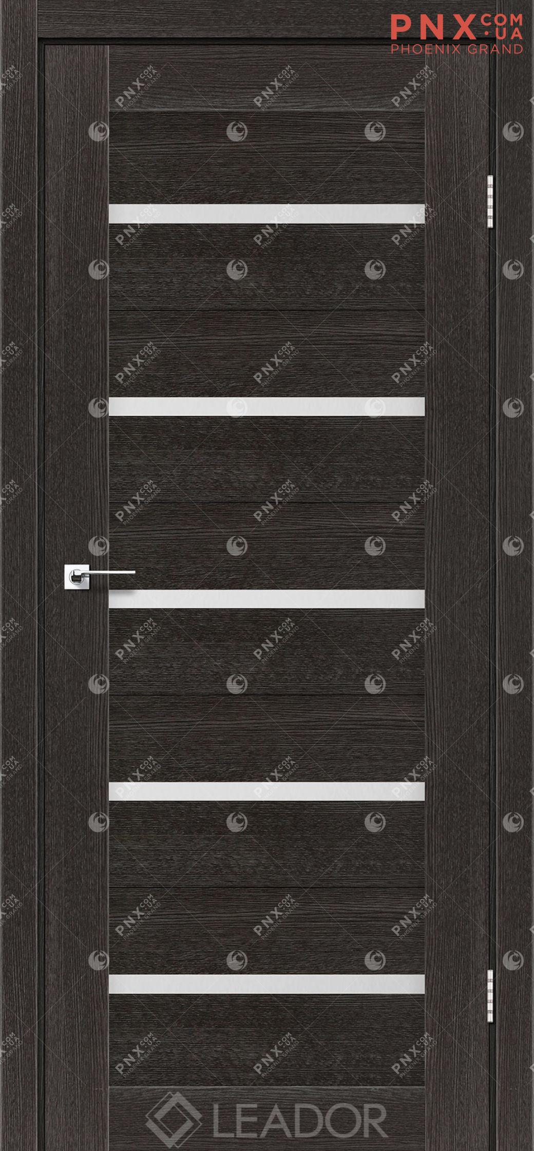 Межкомнатная дверь LEADOR Siena, Дуб Саксонский, Белое стекло сатин