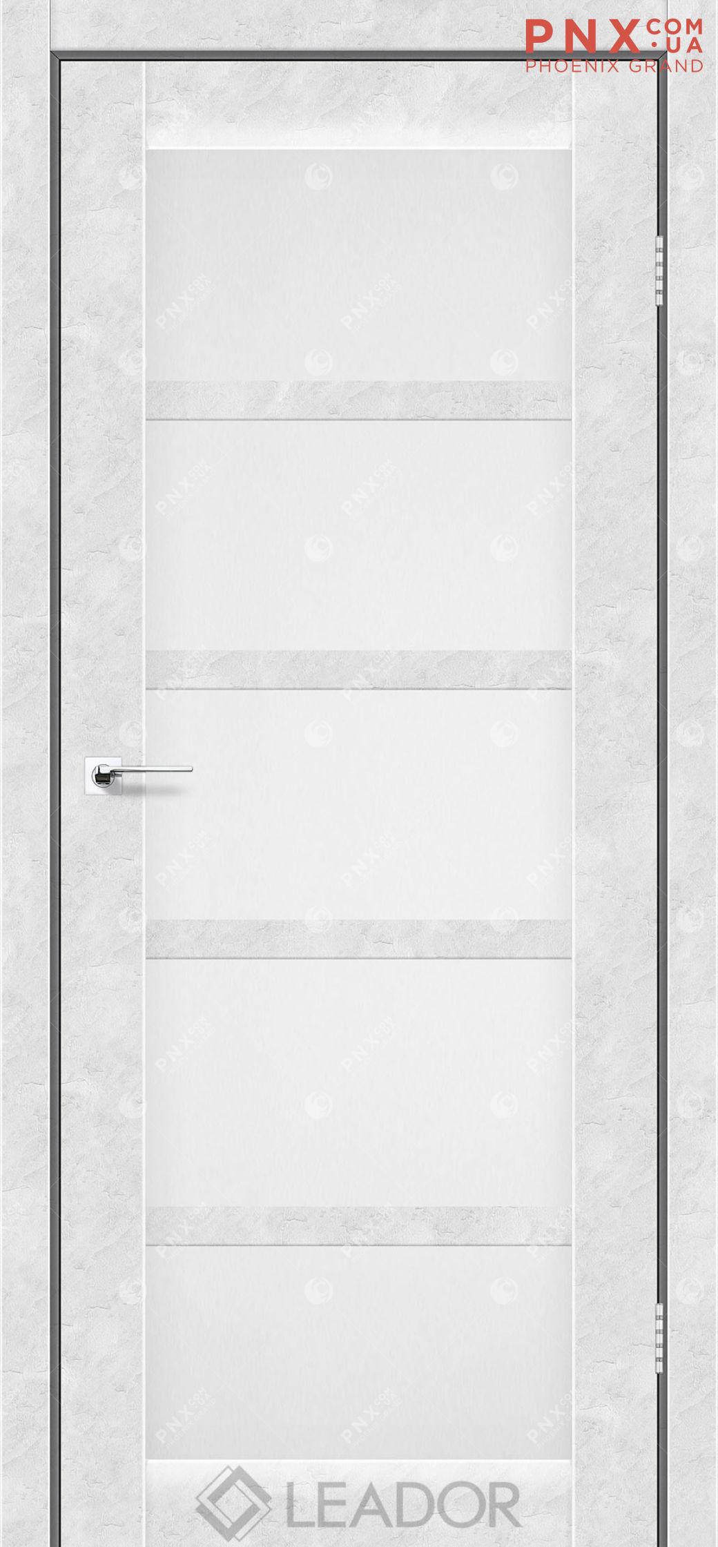 Межкомнатная дверь LEADOR Veneto, Бетон Белый, Белое стекло сатин