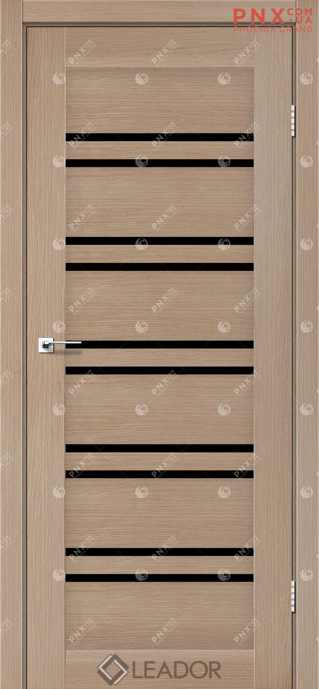Межкомнатная дверь LEADOR Sicilia, Дуб Мокко, Черное стекло