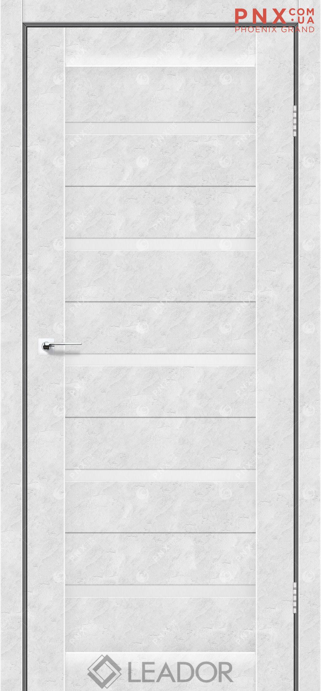 Межкомнатная дверь LEADOR Siena, Бетон Белый, Белое стекло сатин
