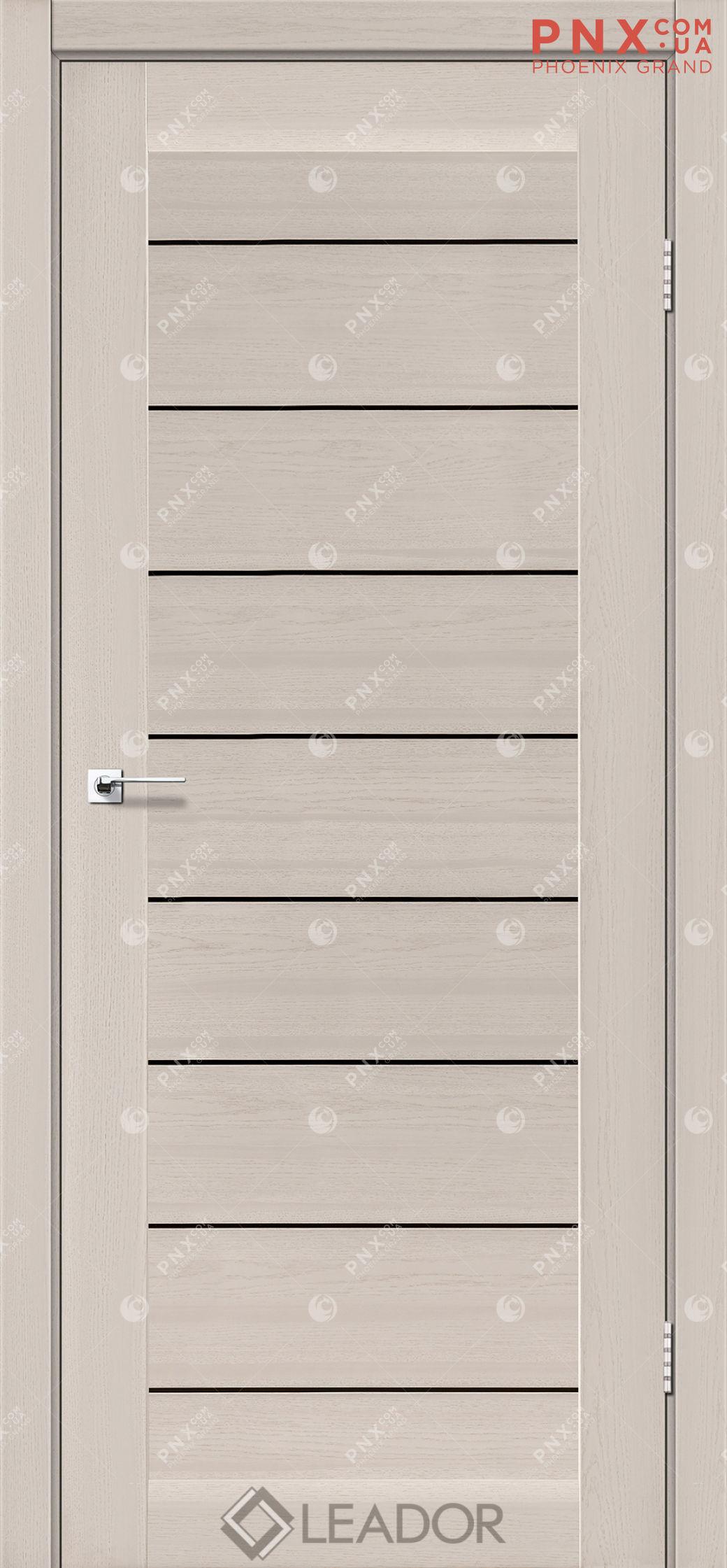 Межкомнатная дверь LEADOR Neapol, Дуб Латте, Черное стекло