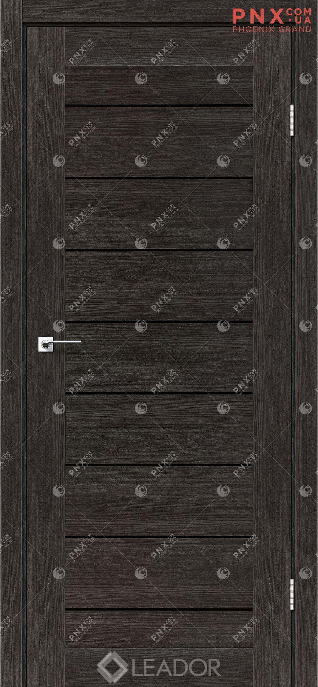 Межкомнатная дверь LEADOR Neapol, Дуб Саксонский, Черное стекло