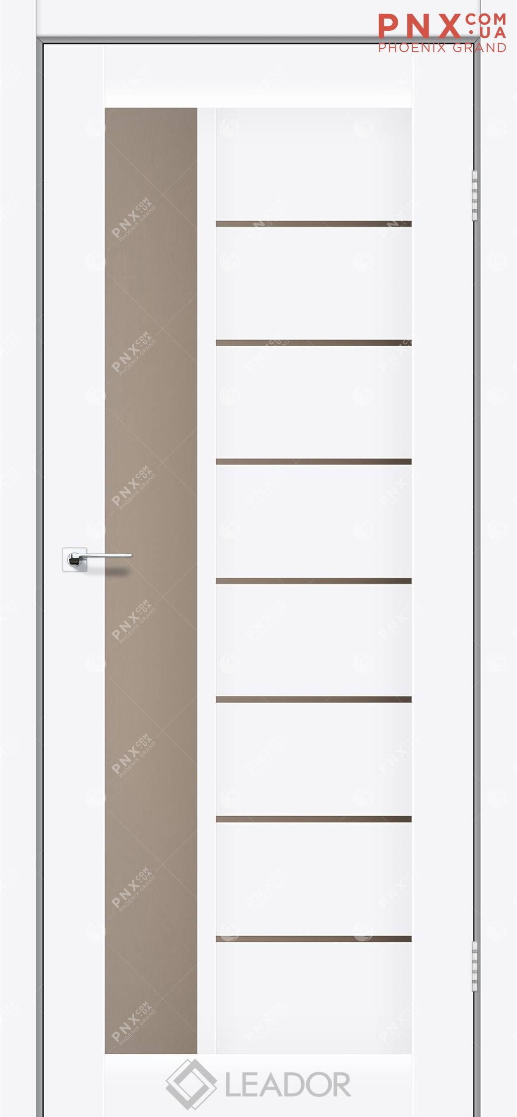 Межкомнатная дверь LEADOR Lorenza, Белый матовый, Стекло сатин бронза