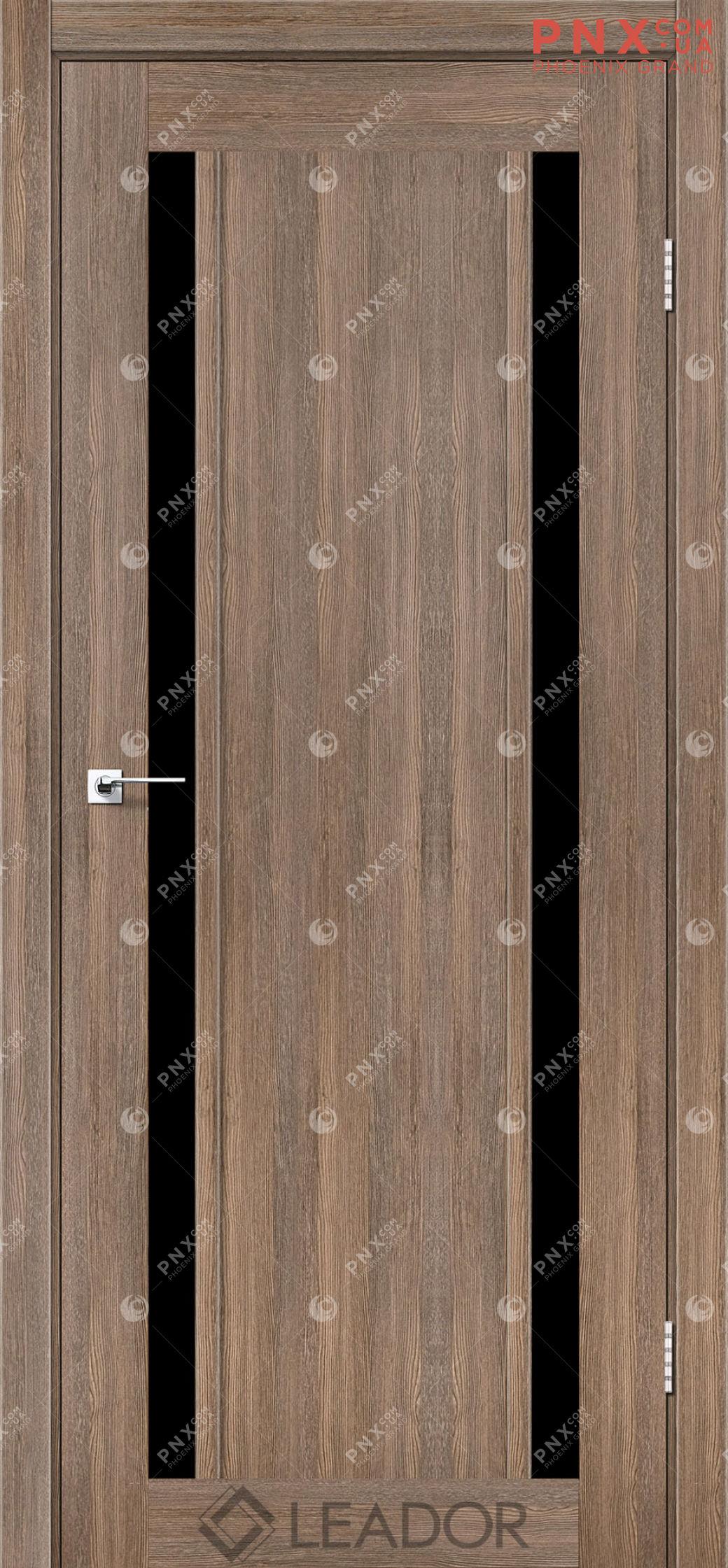 Межкомнатная дверь LEADOR Catania, Серое дерево, Черное стекло