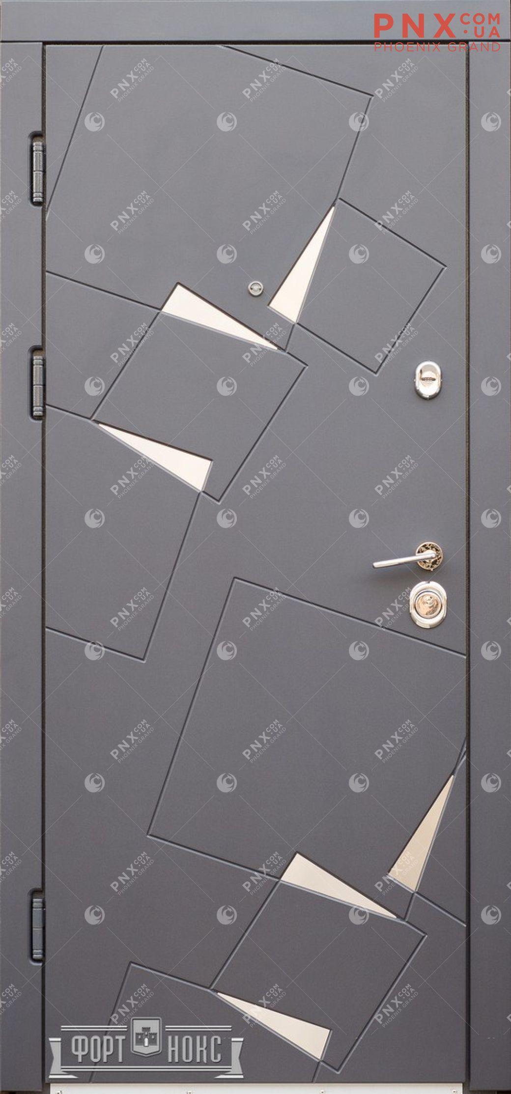 Входная дверь Форт Нокс, Стандарт, Алькор, металл/мдф Серый муар 7024 + нерж. Вставки/Бетон кремовый DL 38