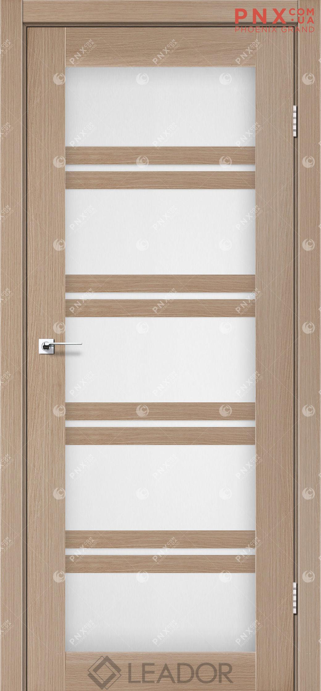 Межкомнатная дверь LEADOR Lodi, Дуб Мокко, Белое стекло сатин