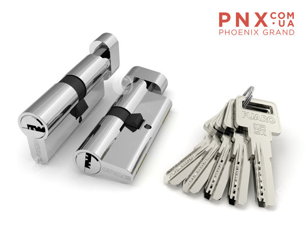 Цилиндровый механизм 100 DM-X/RC 90 mm (35+10+45) PB латунь 5 кл.+2 кл. FUARO (с индивидуальным ключом)