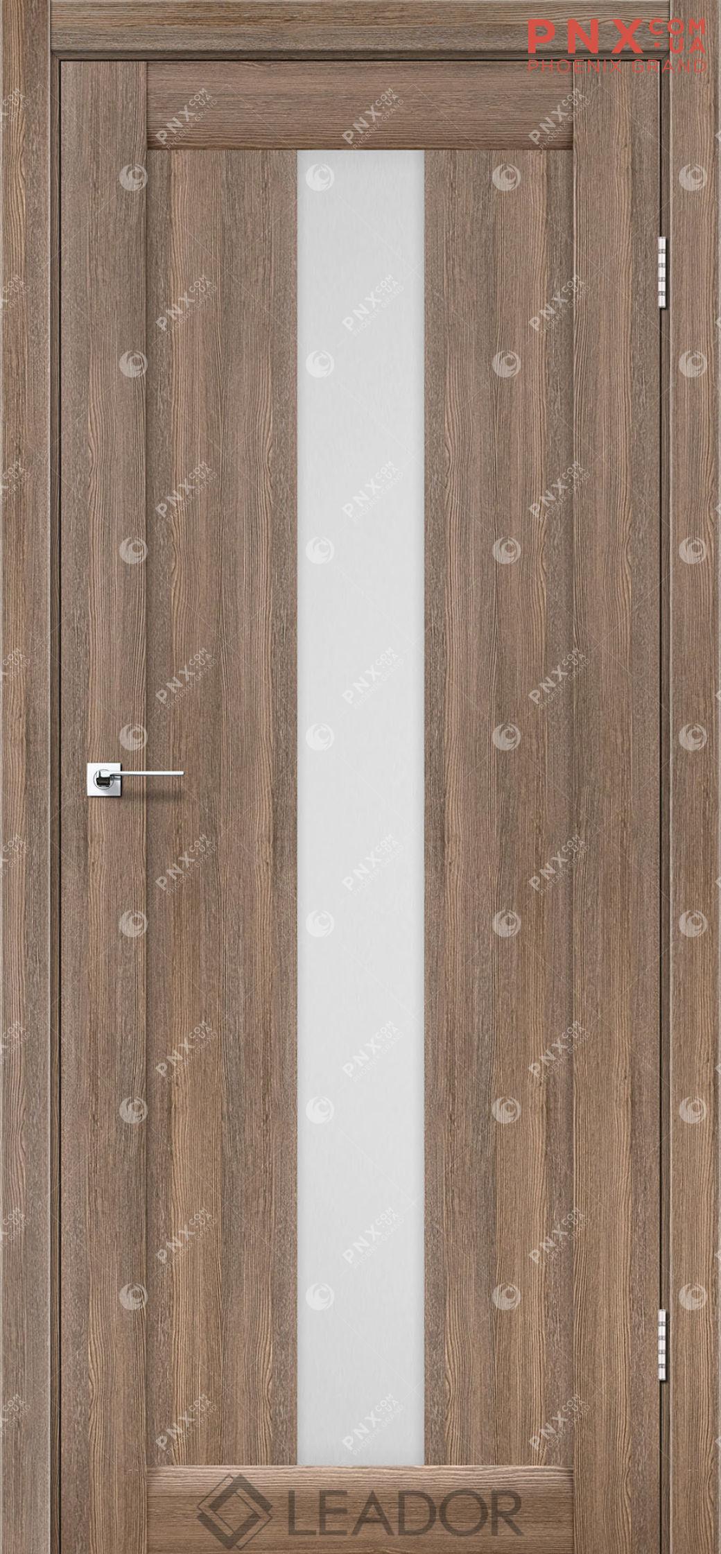 Межкомнатная дверь LEADOR Bari, Серое дерево, Белое стекло сатин