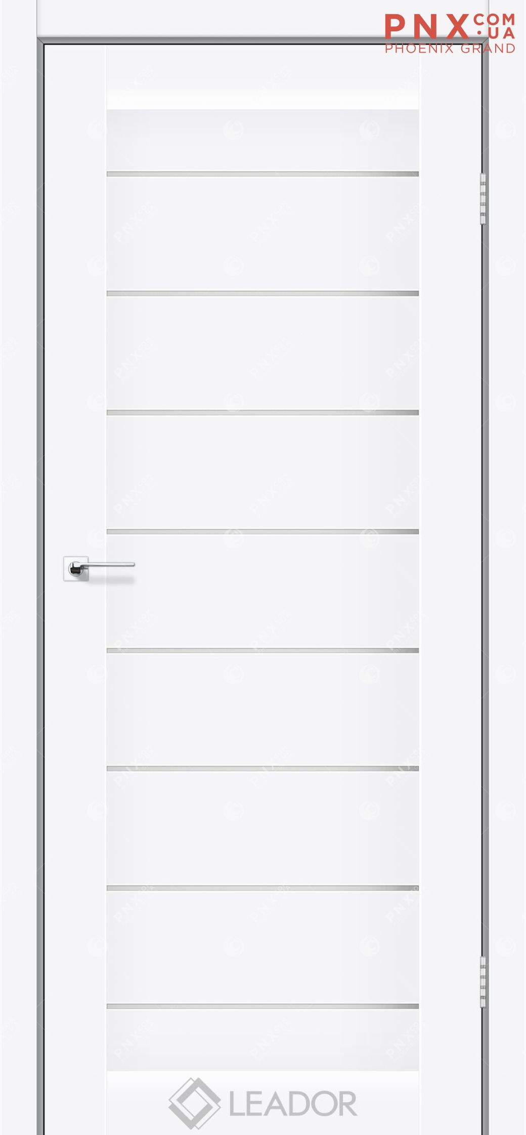 Межкомнатная дверь LEADOR Neapol,Matt White B, Белое стекло сатин