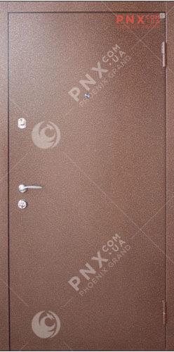 Входная двери металл/мдф модель металл/мдф , порошковая емаль/орех темный винорит, глухое