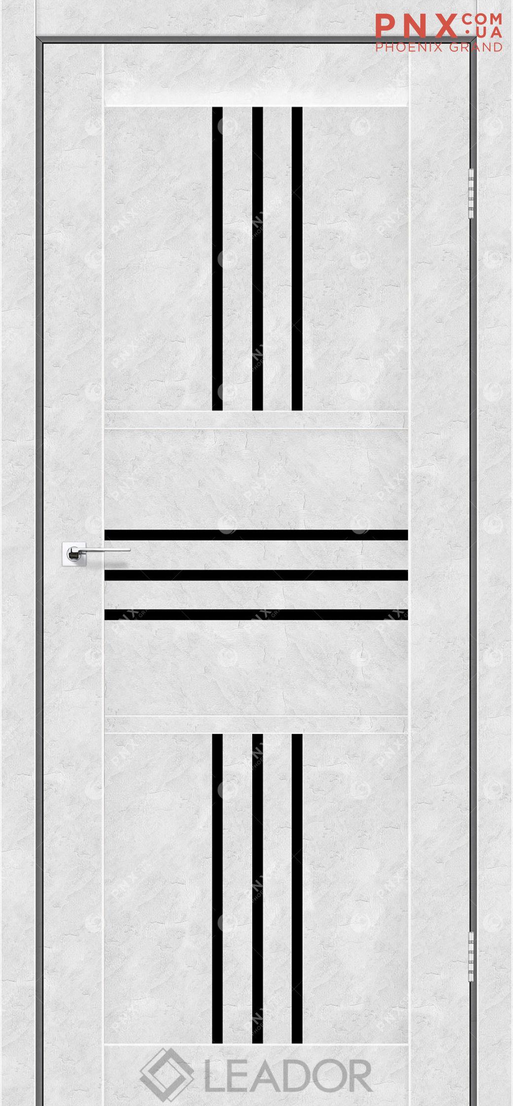 Межкомнатная дверь LEADOR Rona, Бетон Белый, Черное стекло