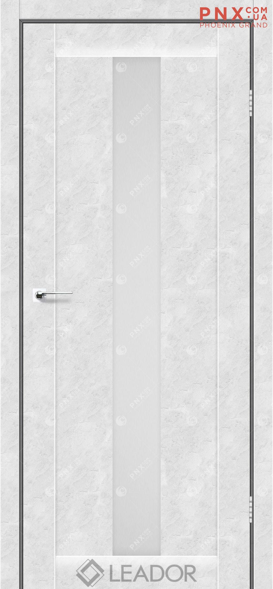 Межкомнатная дверь LEADOR Bari, Бетон Белый, Белое стекло сатин