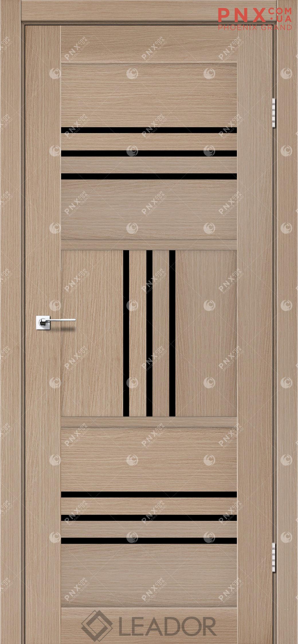 Межкомнатная дверь LEADOR Gela, Дуб Мокко, Черное стекло